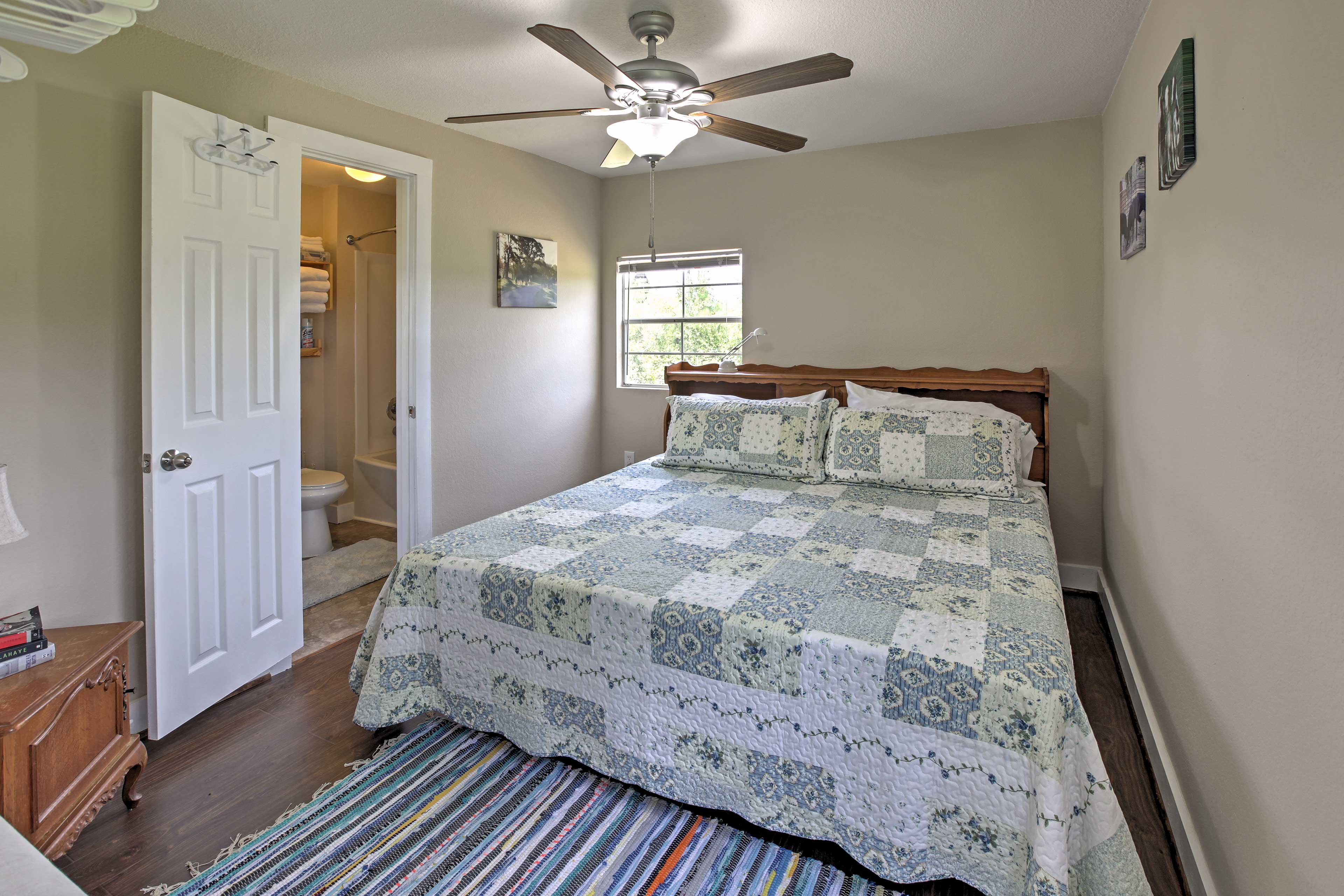 When you're ready for a peaceful night of sleep, head to the home's bedroom.