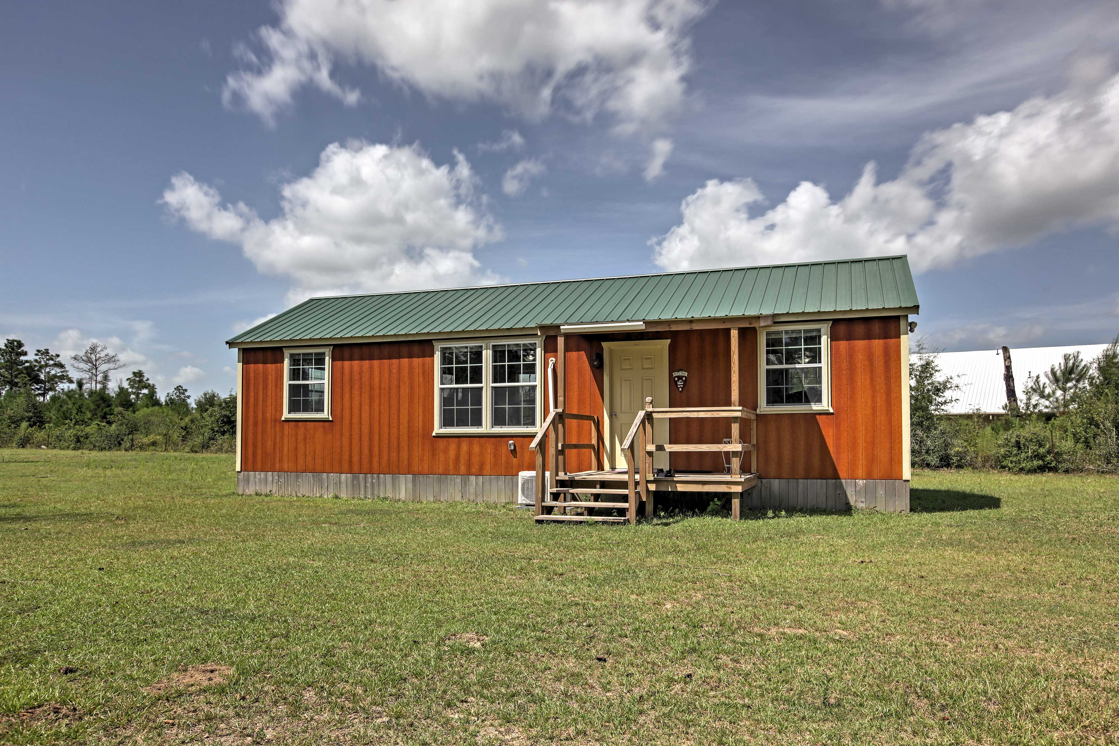 This cabin sits amidst vast farmland for you to explore.