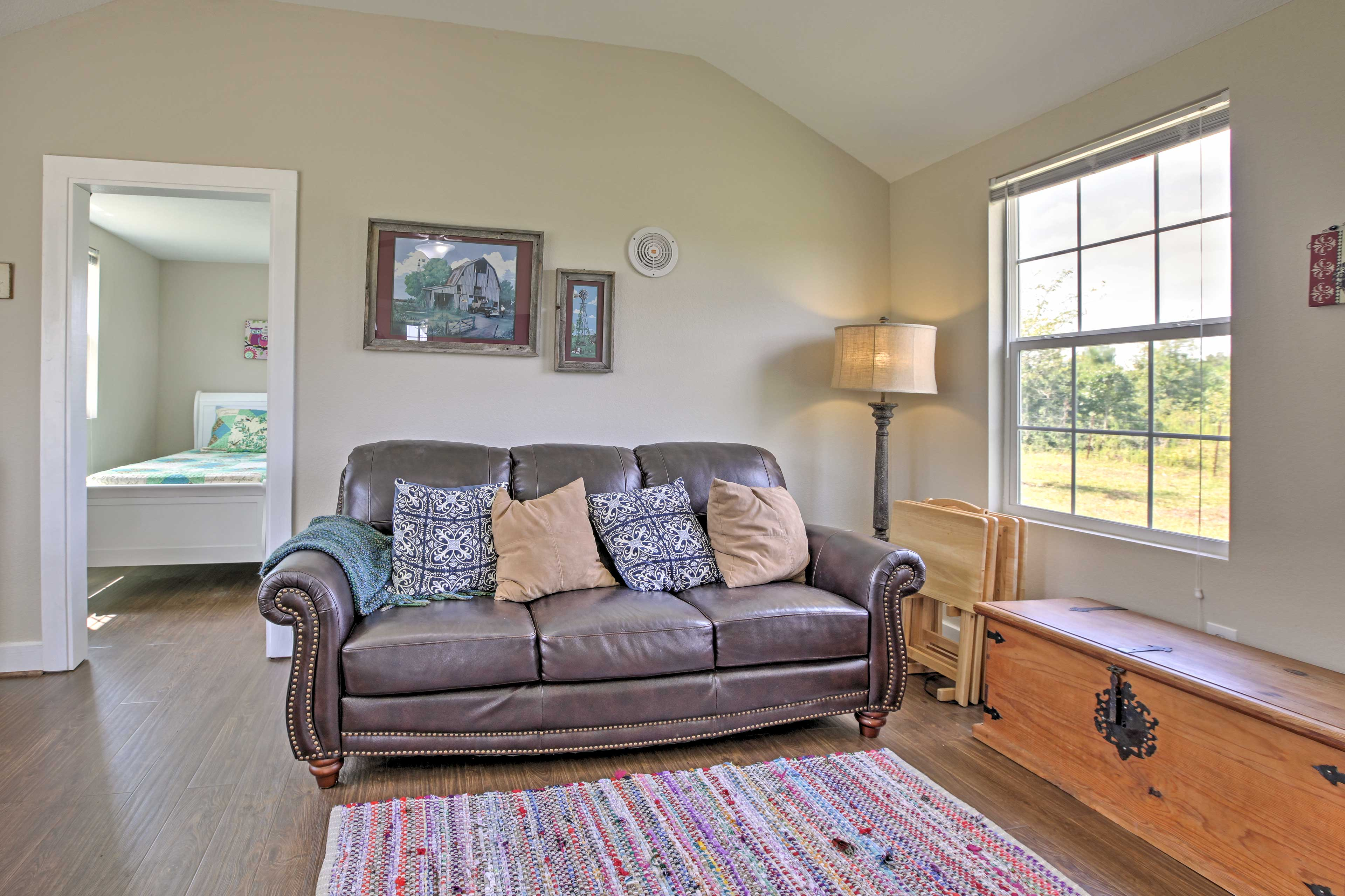 Read a book and admire the farm surroundings out the adjacent window.