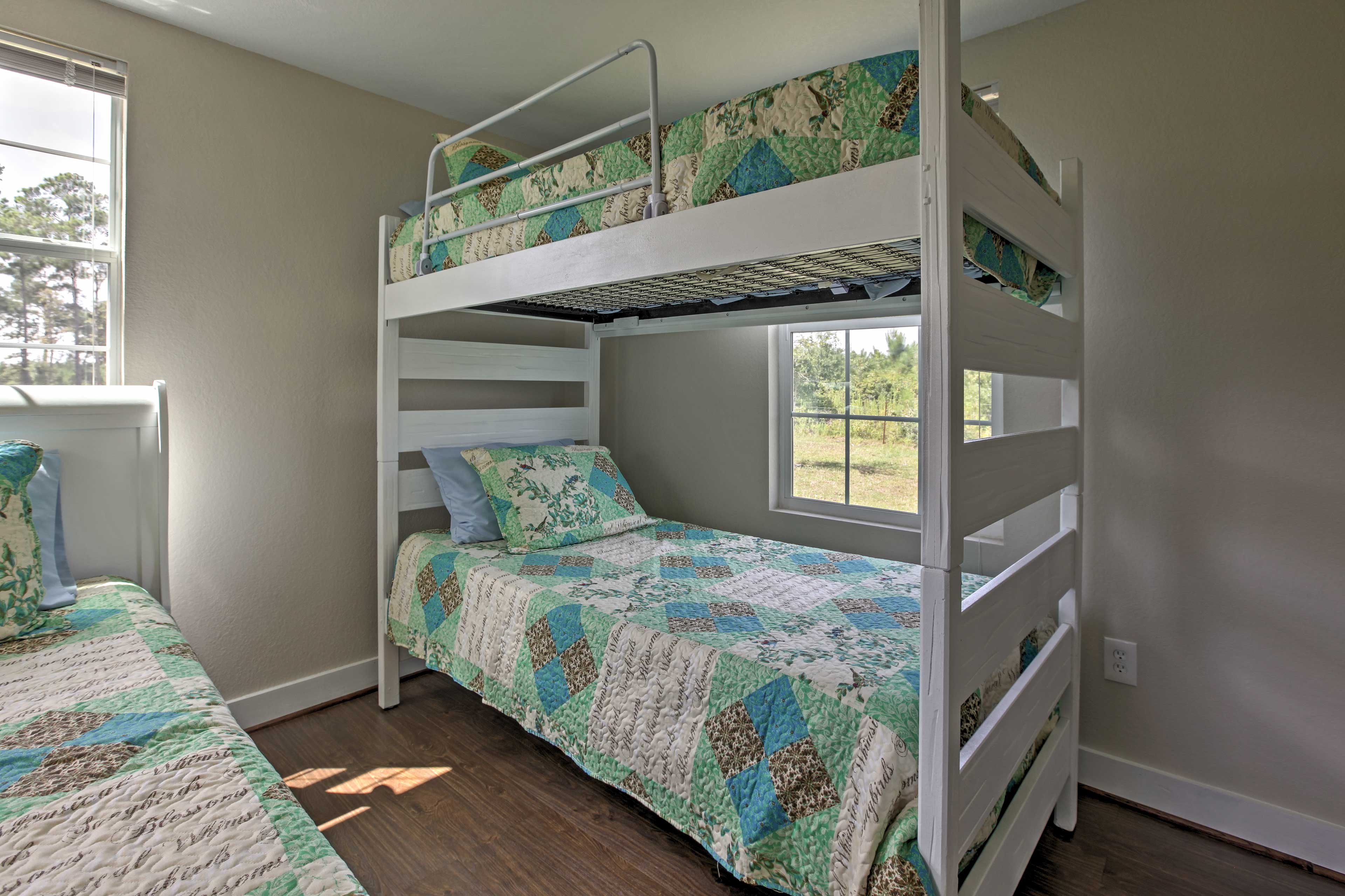 An additional twin-over-twin bunk bed is available for the little ones.