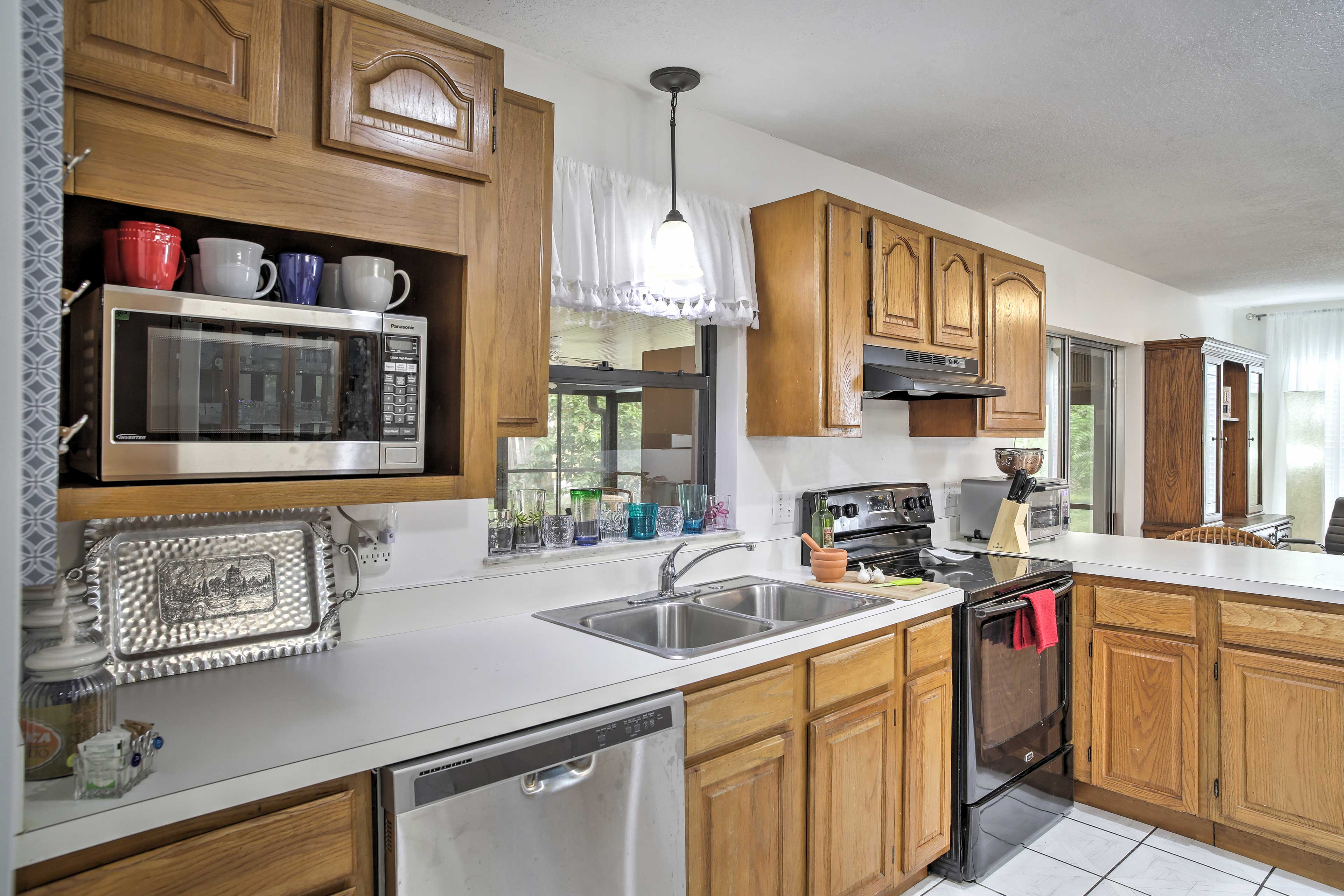 Save on the dinner tab - the fully equipped kitchen makes cooking an easy task.