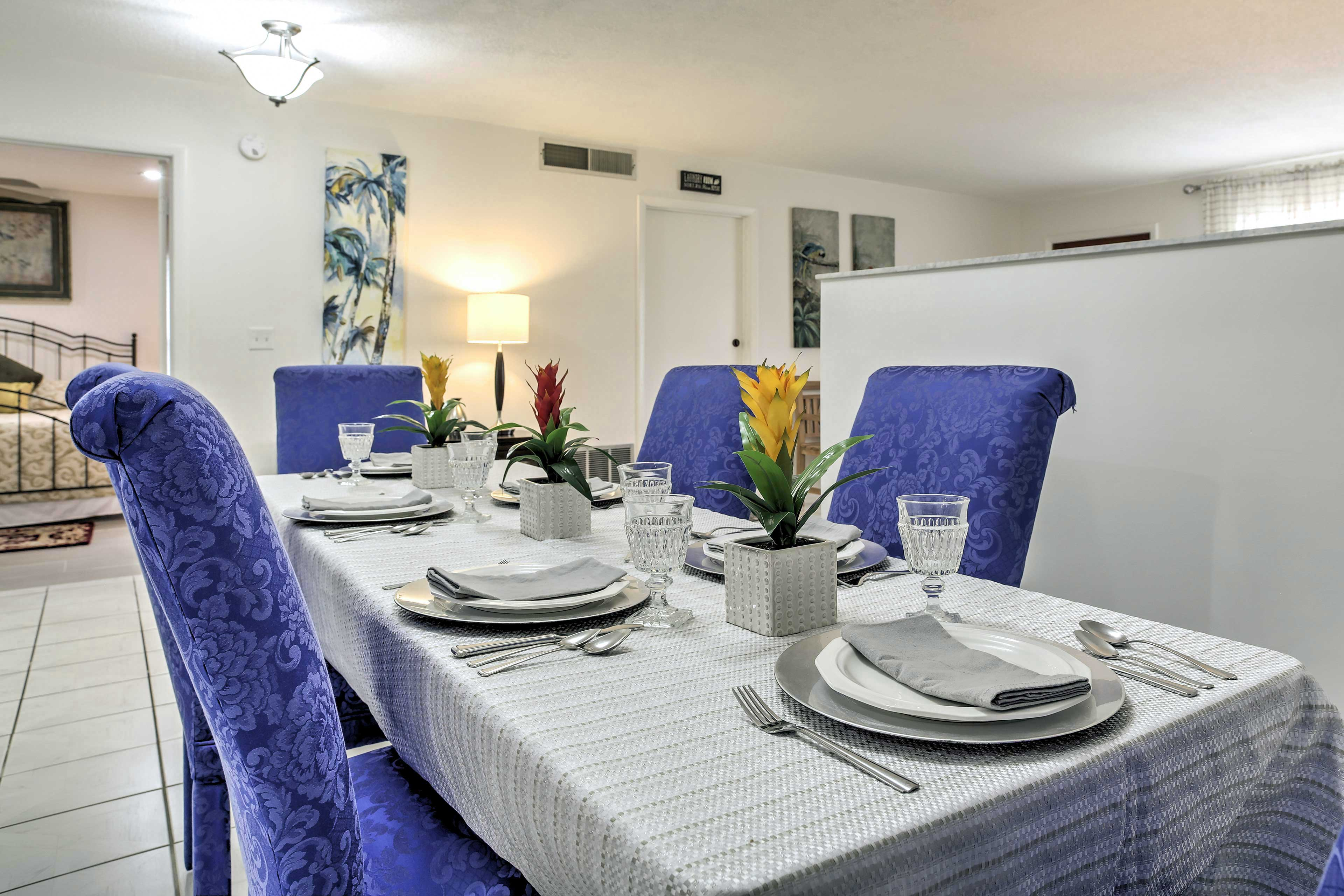 Host dinner for your group at the contemporary dining table.