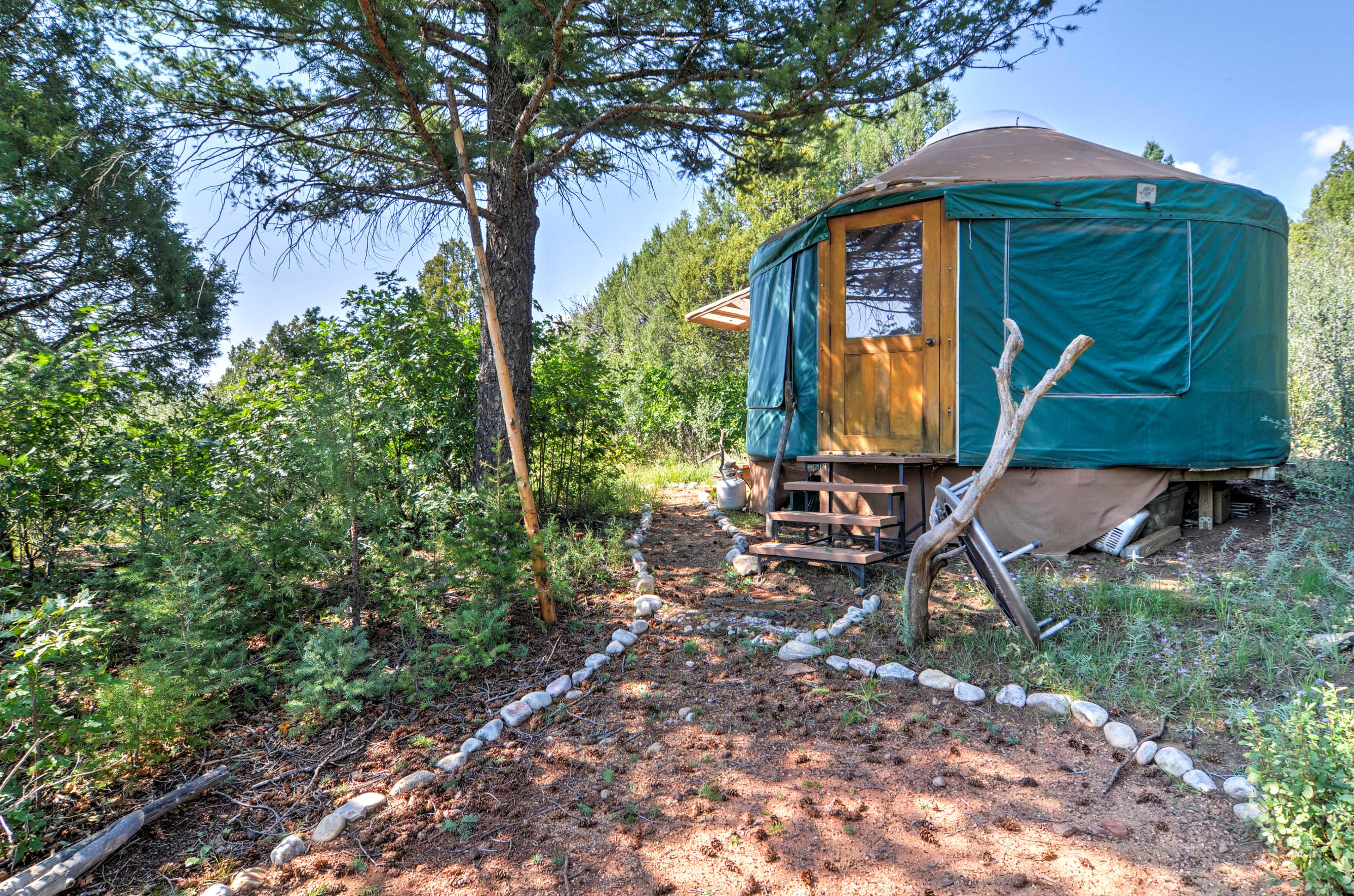 The Harris Yurt is available for an added fee and is a short walk from the house
