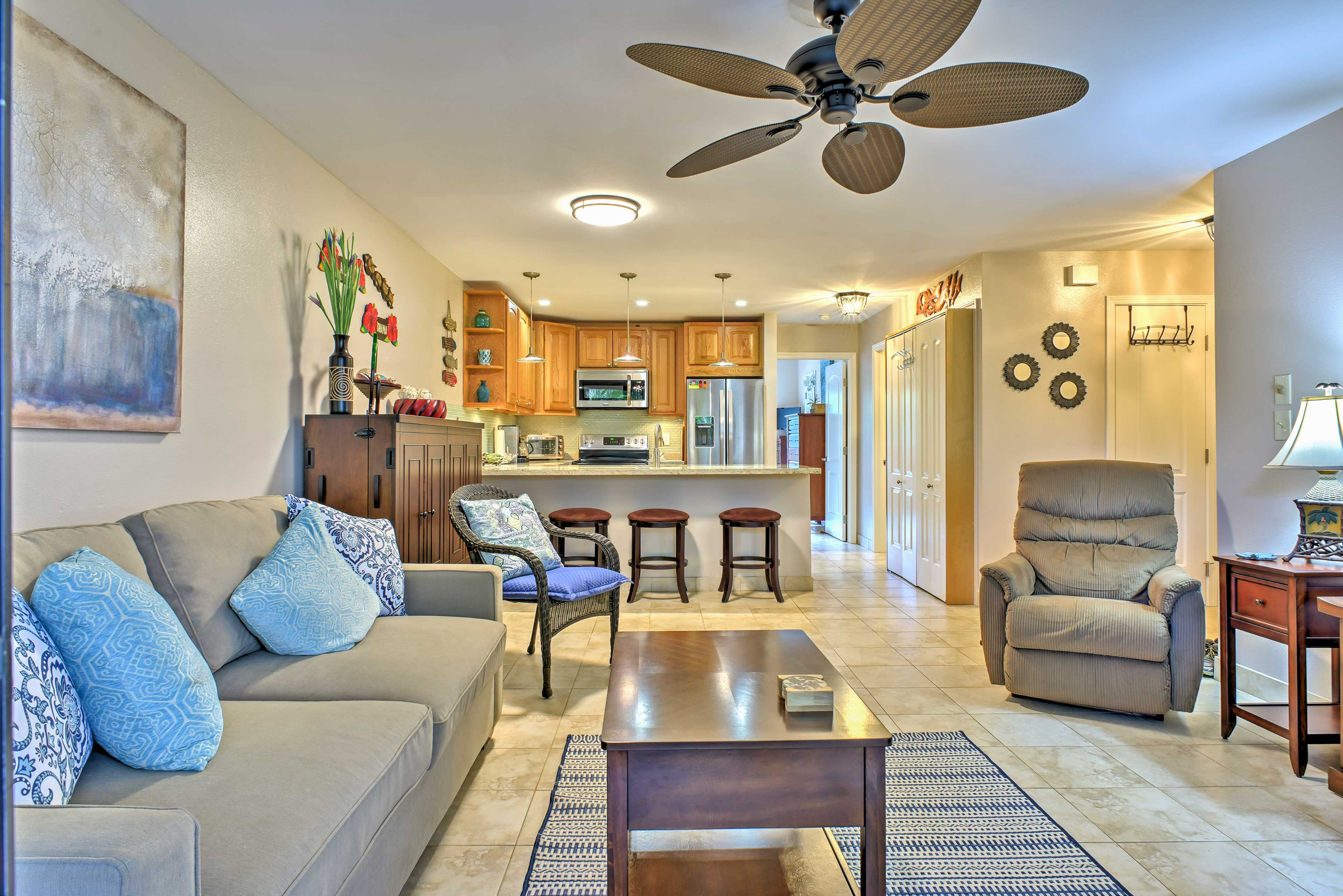 Ceiling fans help keep you cool while you relax inside.