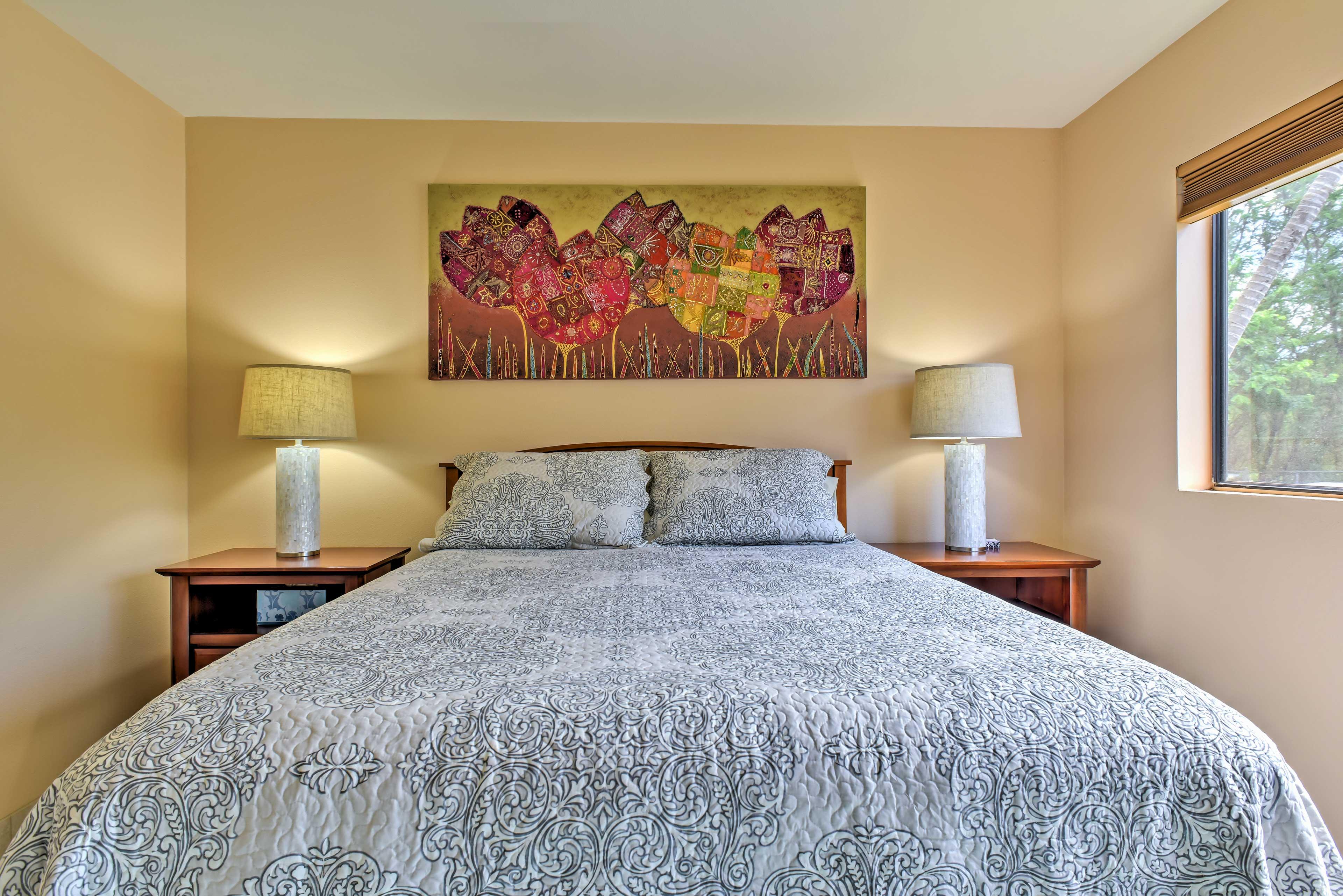Two guests will sleep comfortably each night in the bedroom.
