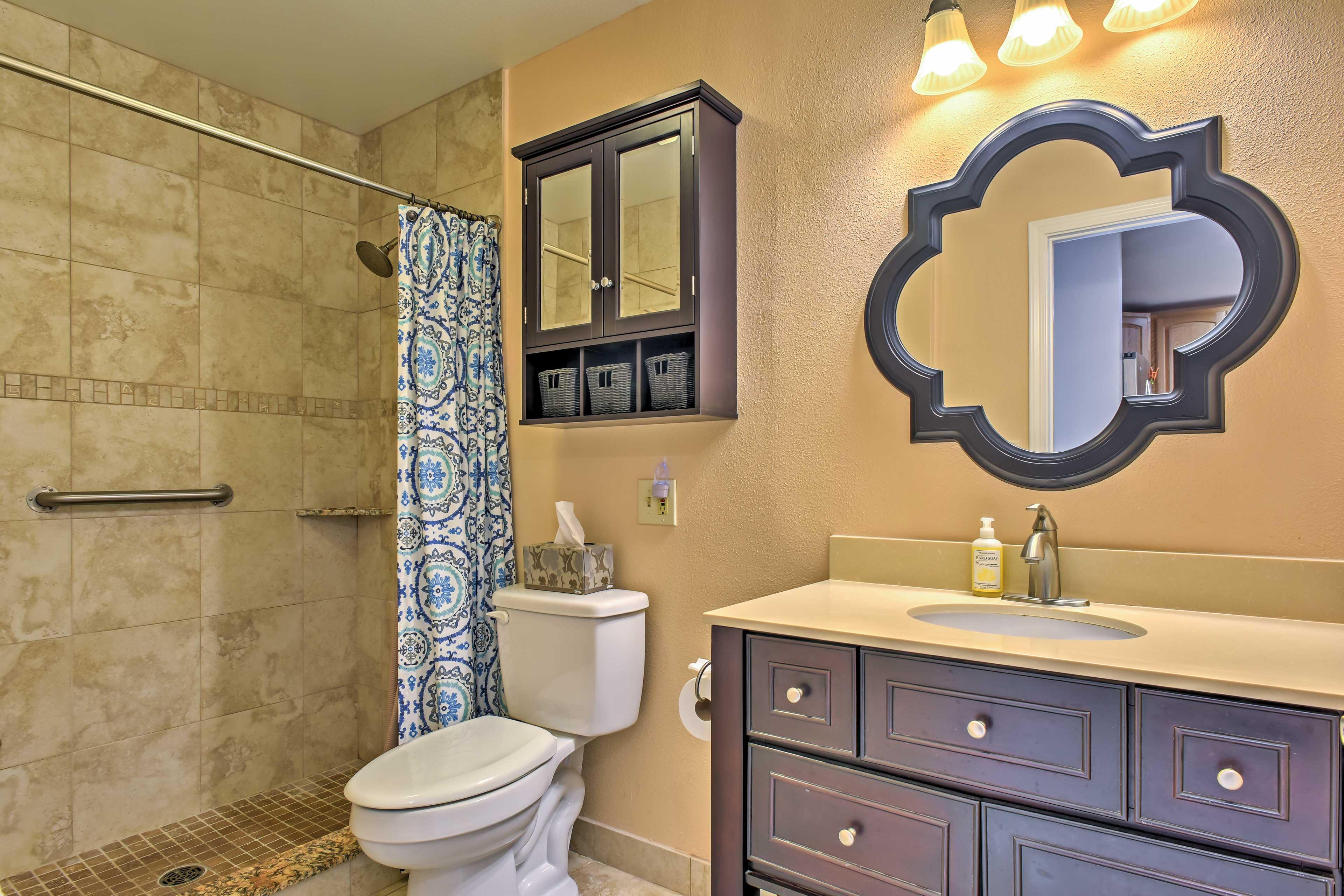 The condo has 1 bathroom with brand new fixtures.