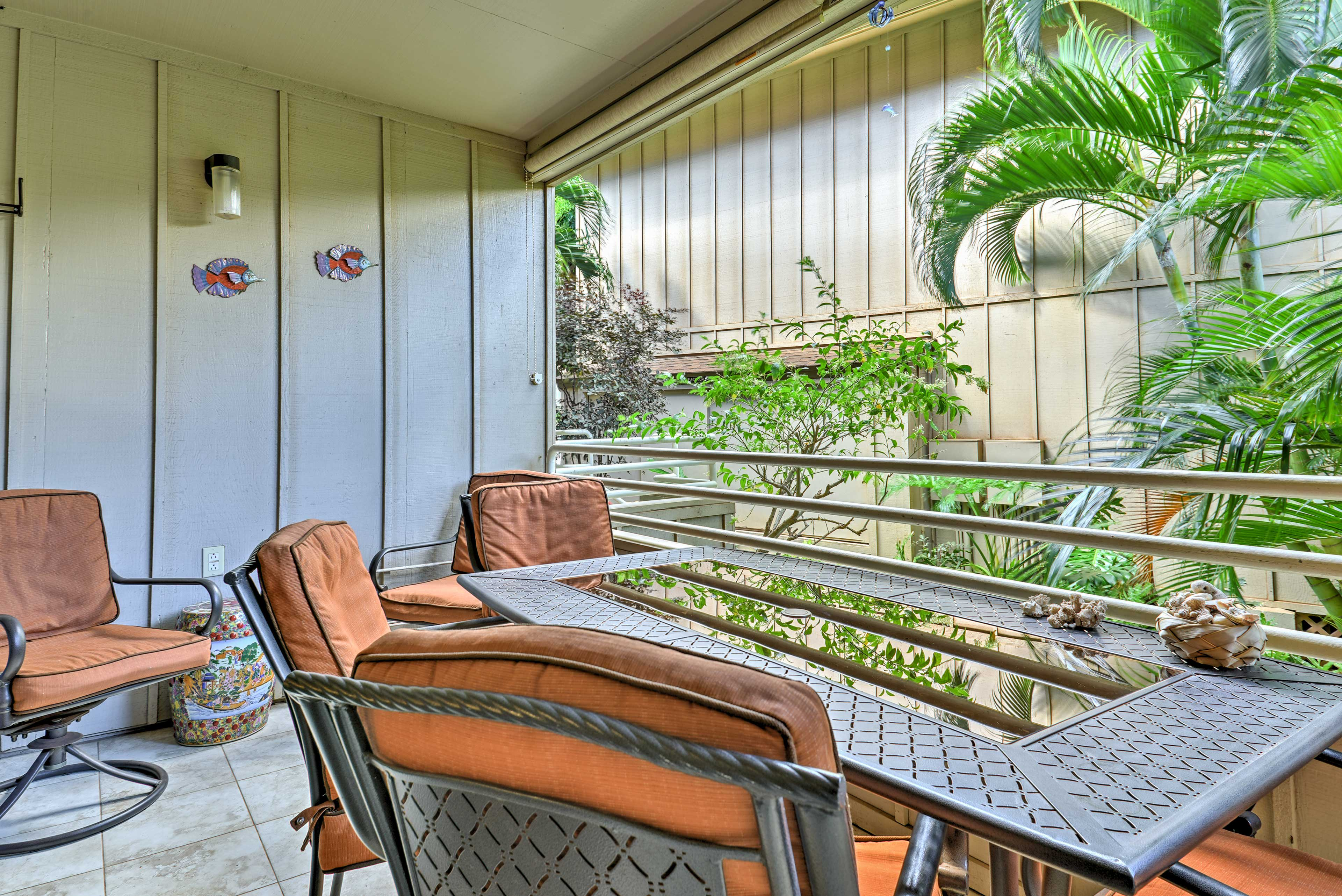 Sit outside to enjoy a meal or play a game of cards with your travel companions!