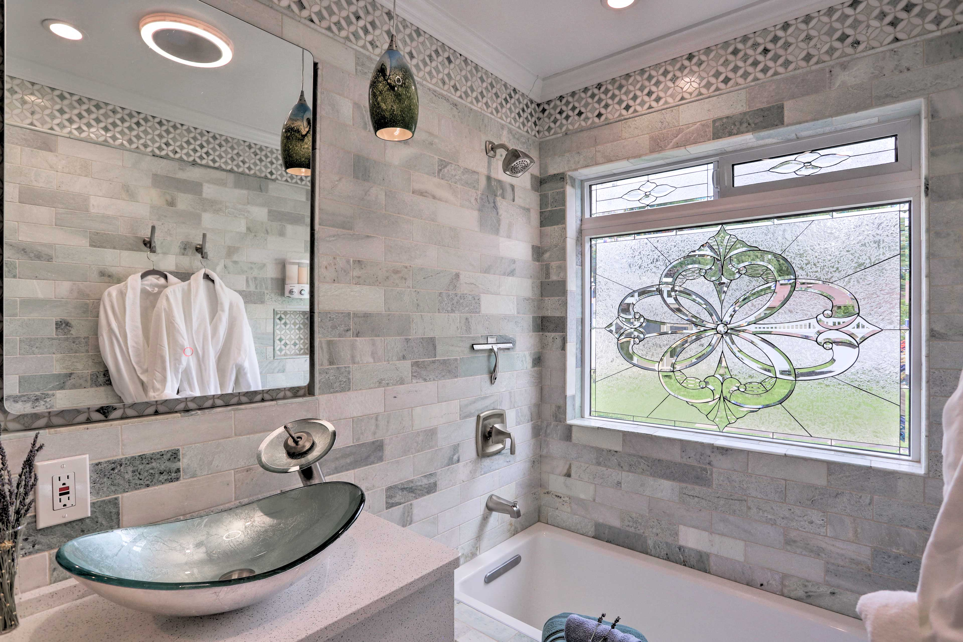 Enjoy a nice soak in the bathtub.