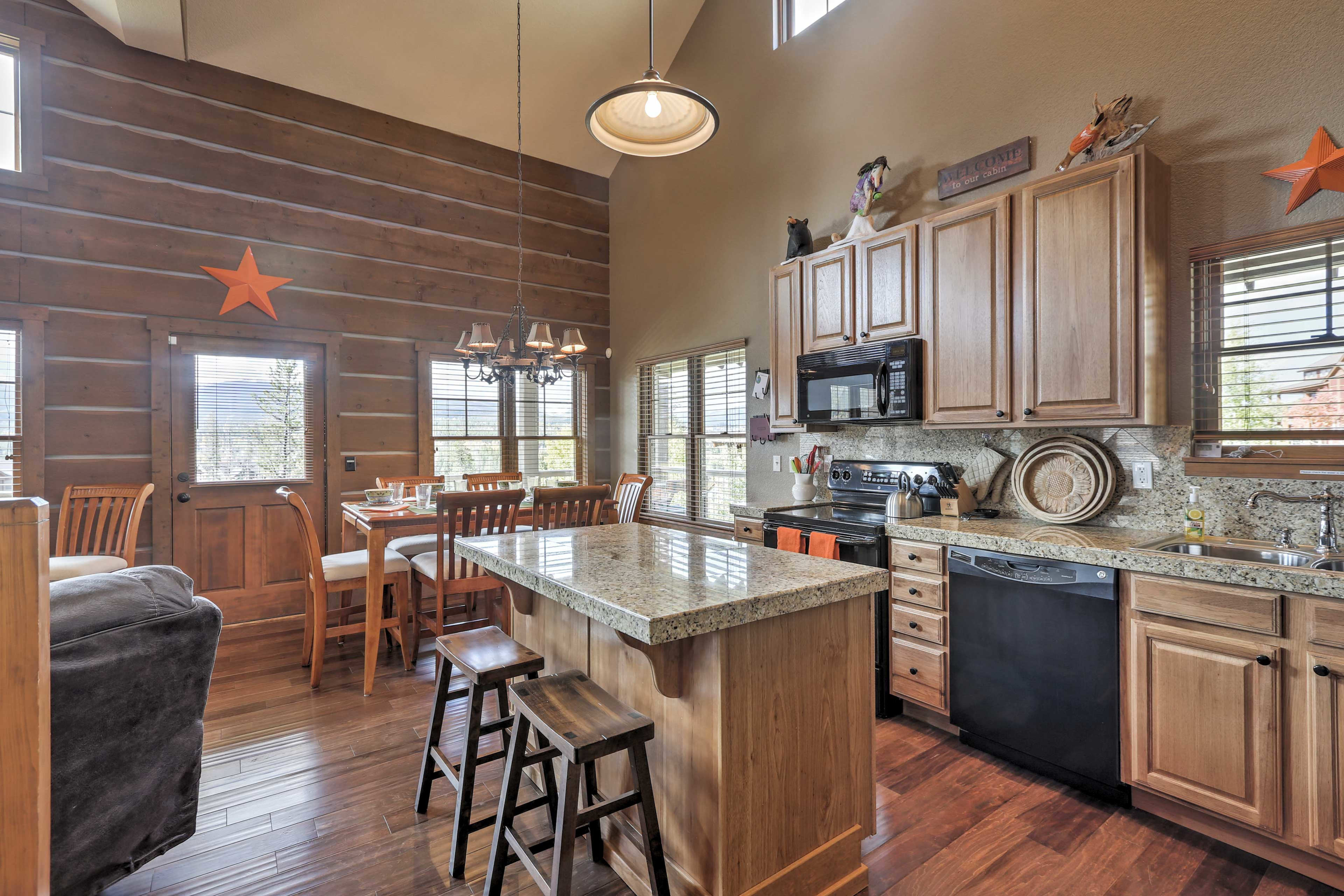 Prepare hearty meals in the fully equipped kitchen with granite countertops.