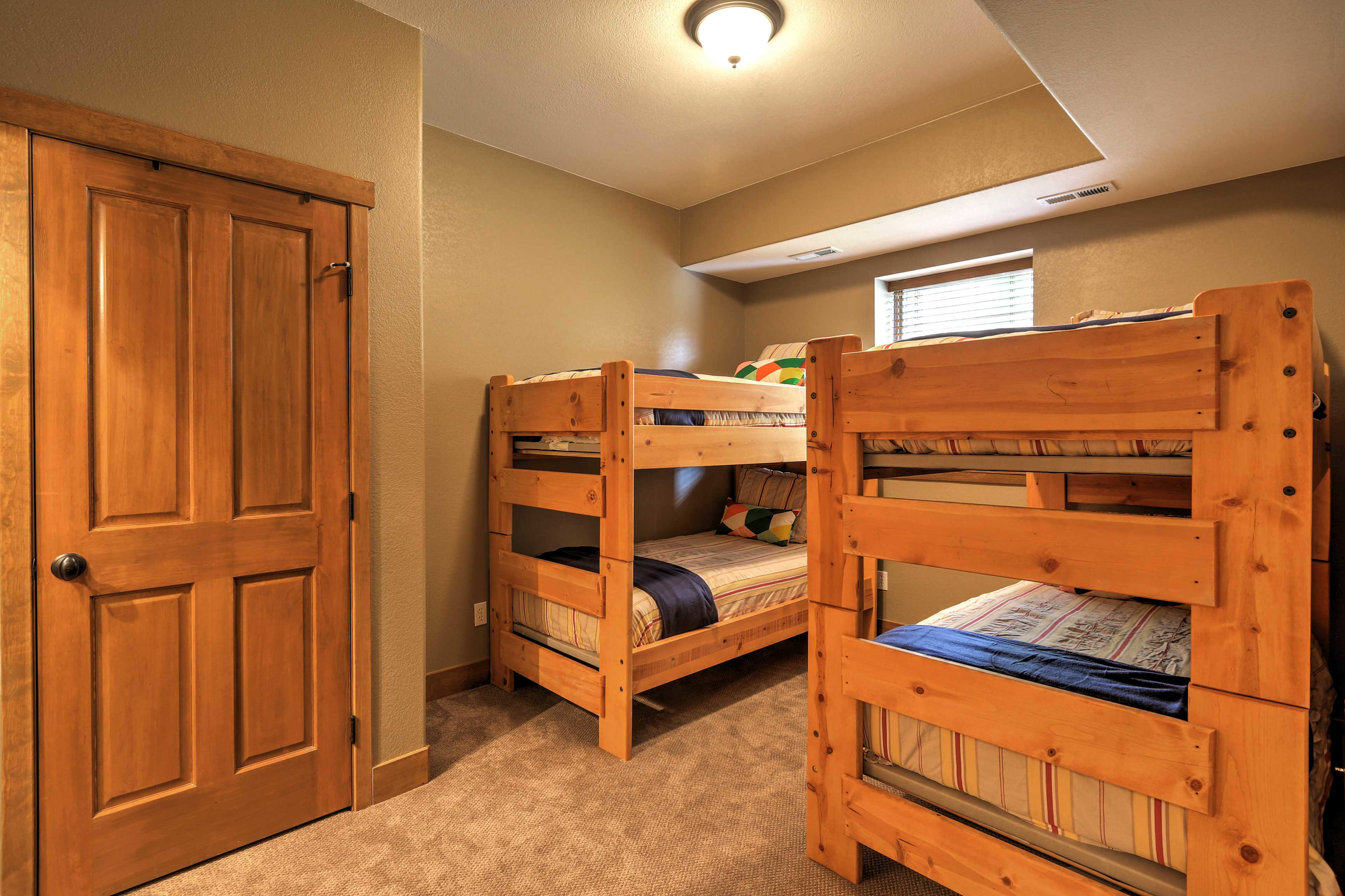 Kids will love sleeping in these twin-over-twin bunk beds.