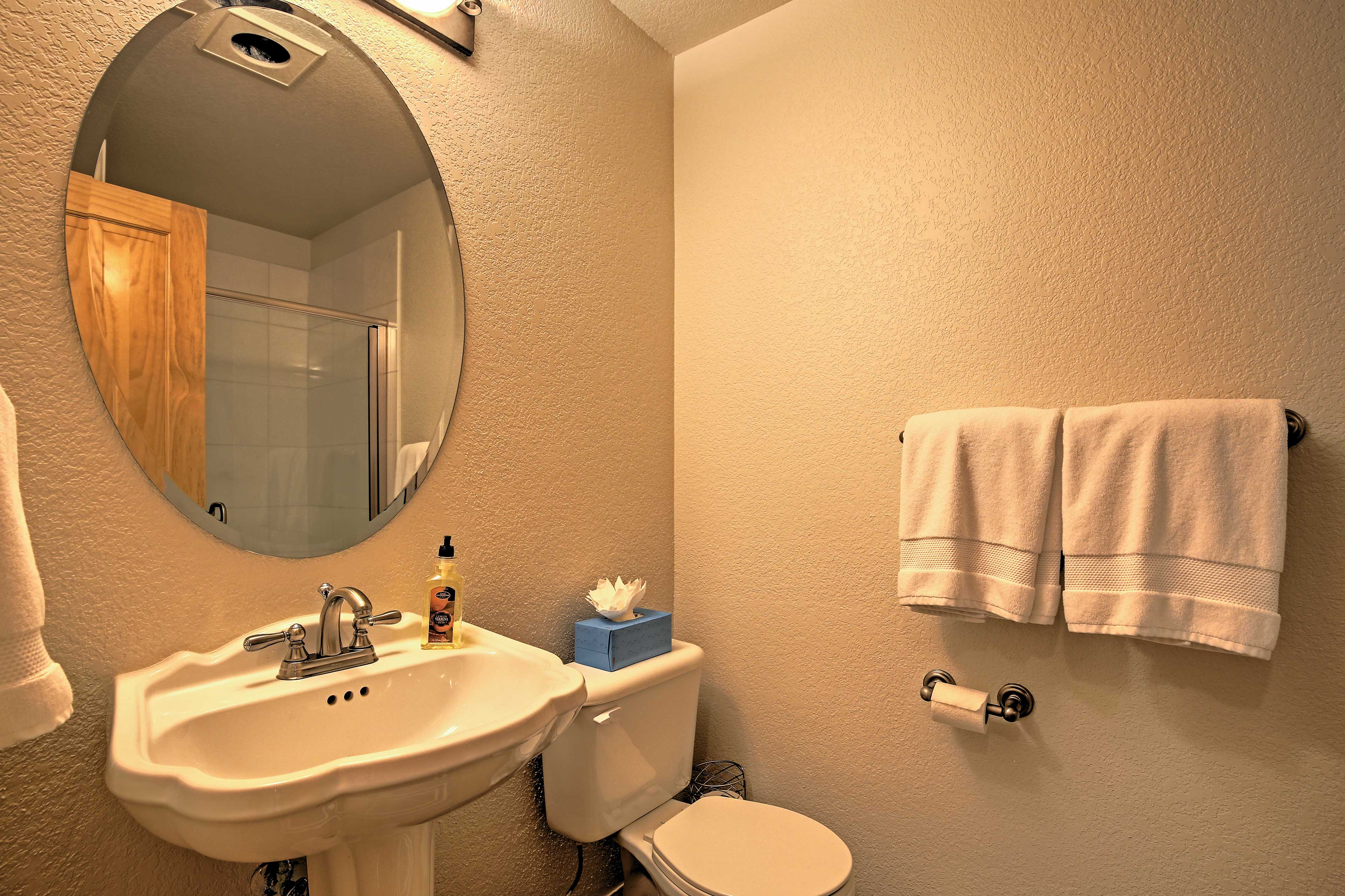 The home is equipped with 4 full bathrooms, providing lots of space for everyone.