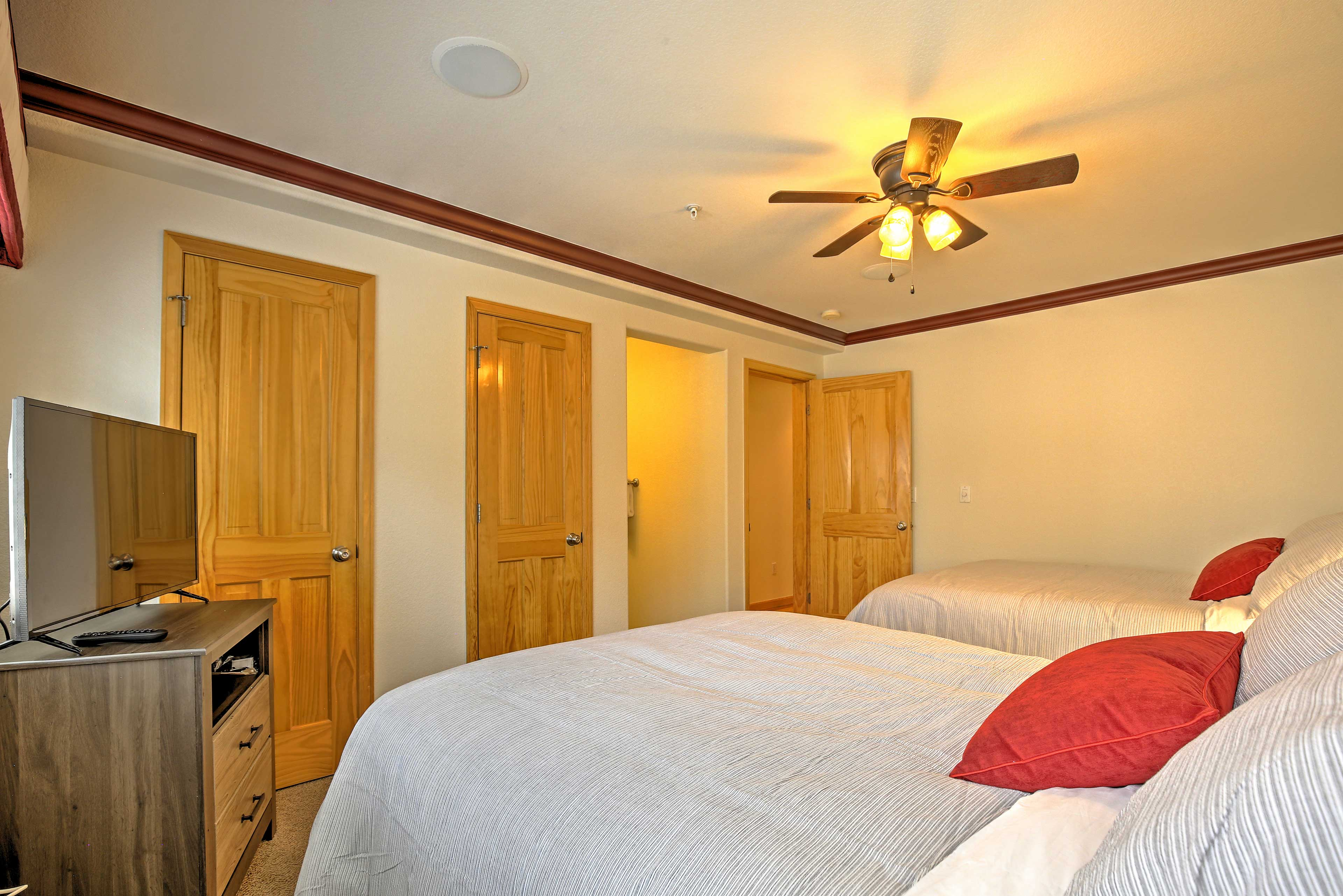 The third bedroom offers 2 full-sized beds, both with brand new mattresses.