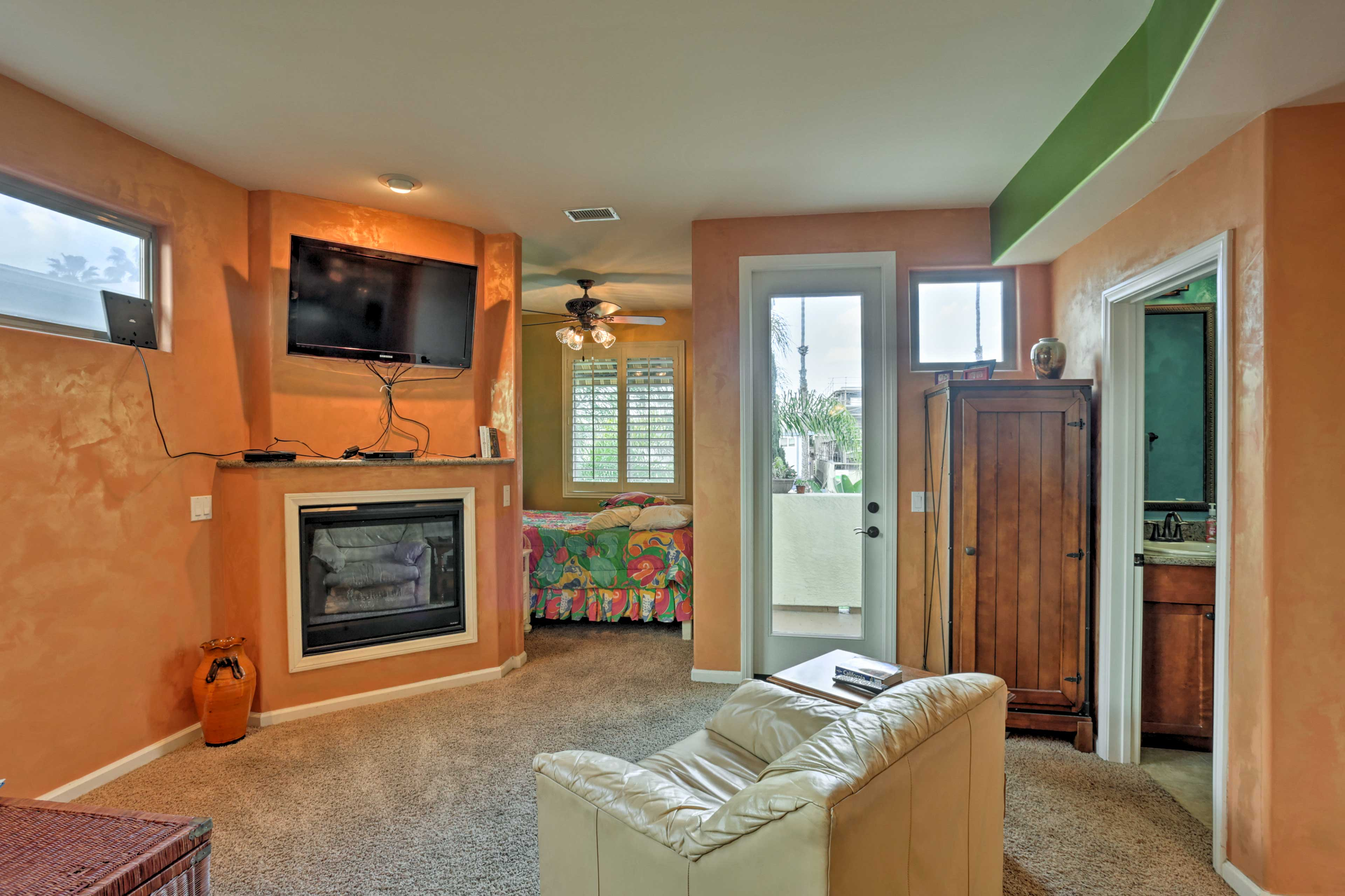 Curl up on the armchair in front of the gas fireplace and flat-screen Smart TV.