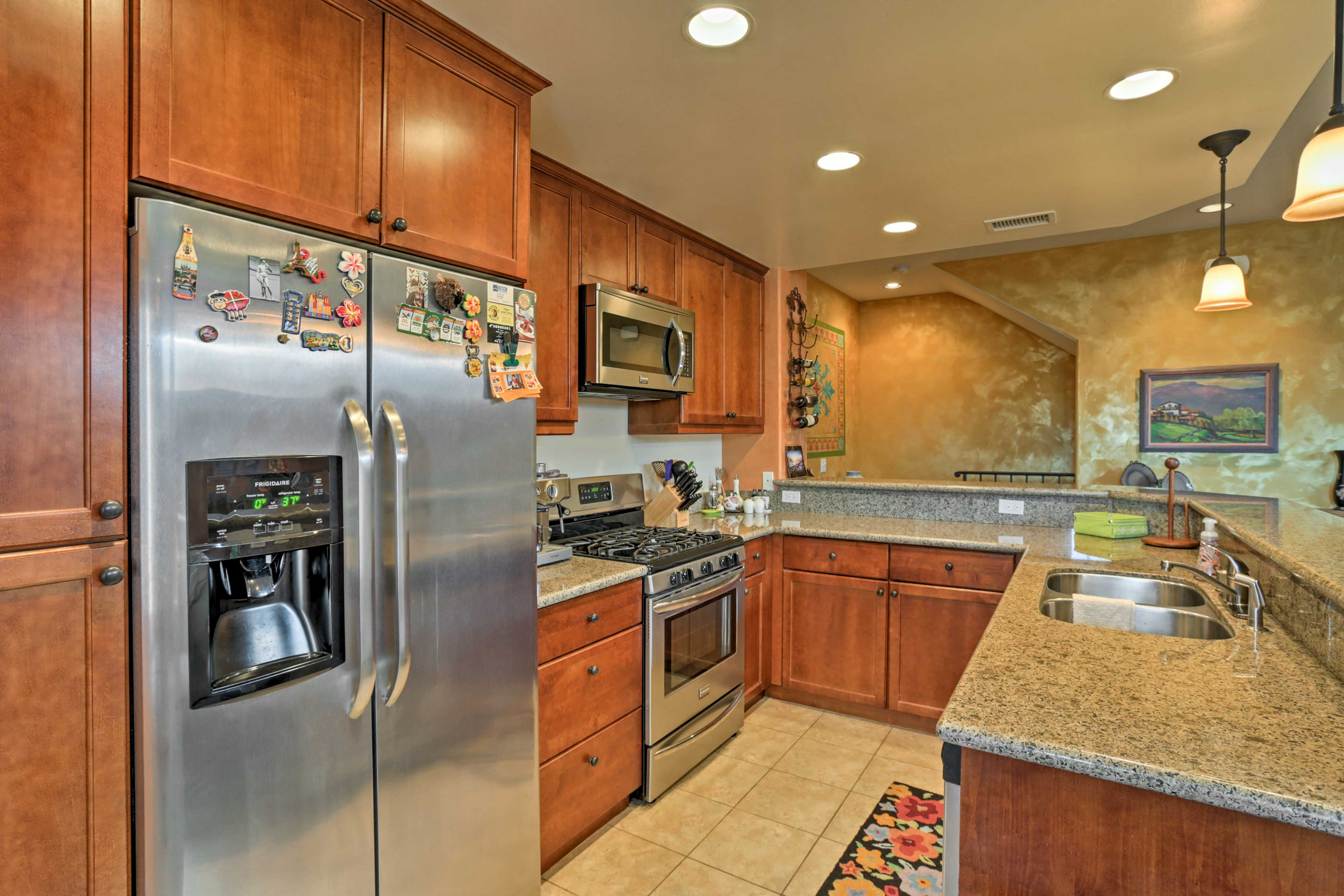 Prepare San Diego-style Mexican cuisine in the fully equipped kitchen.