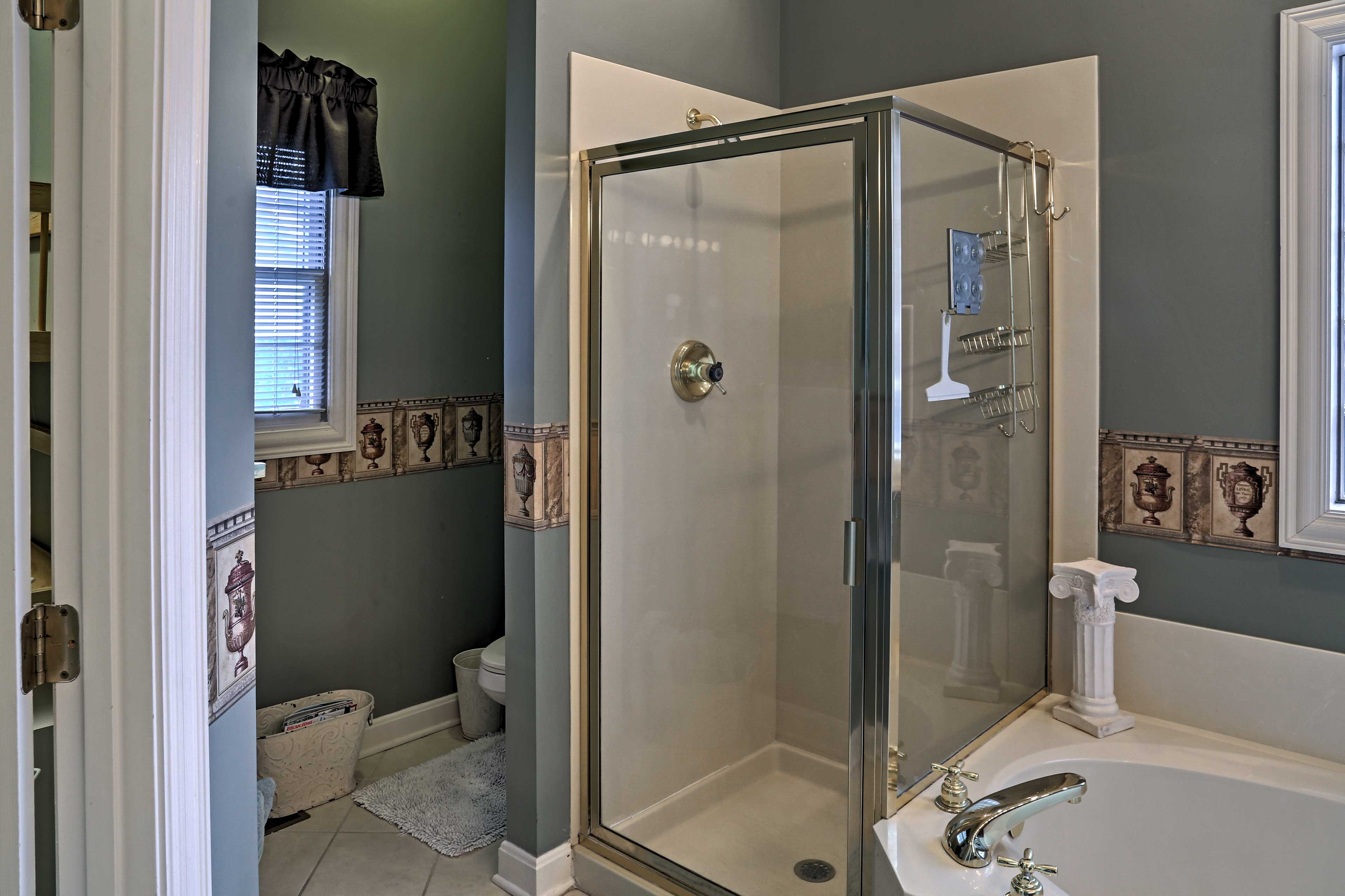 You can also enjoy a refreshing shower in this pristine bathroom.