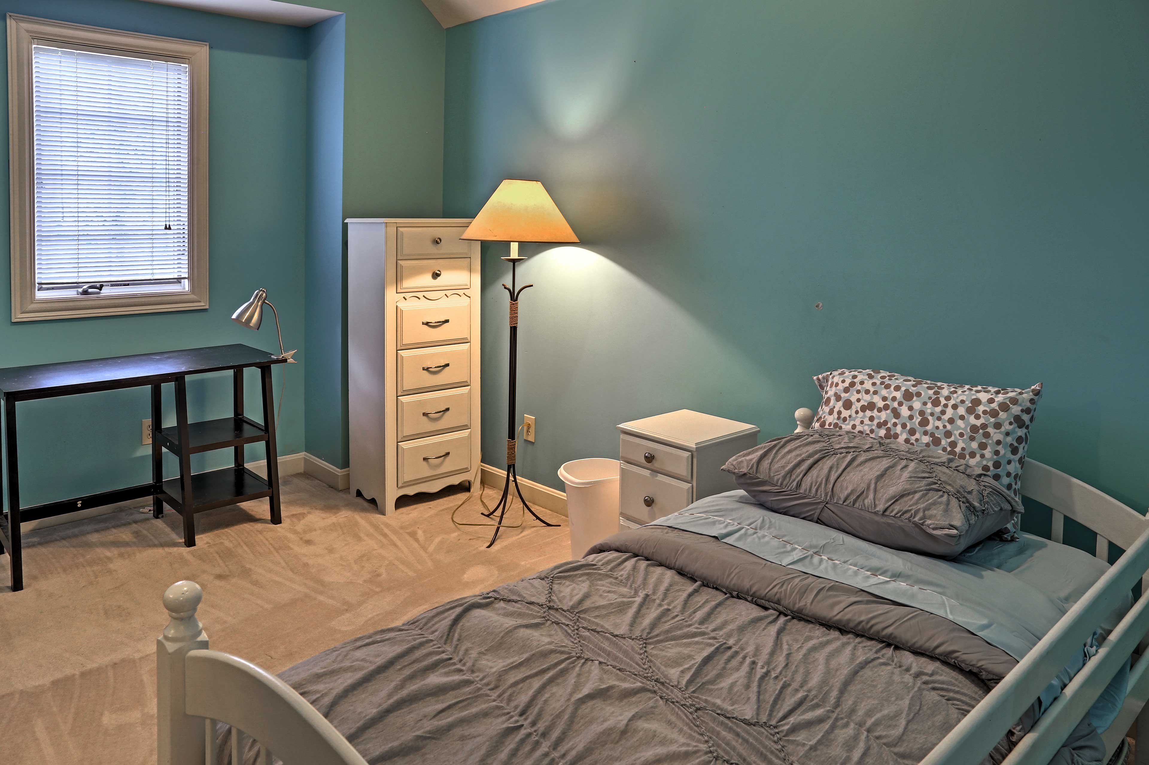 The second bedroom offers a twin bed with a twin trundle bed.