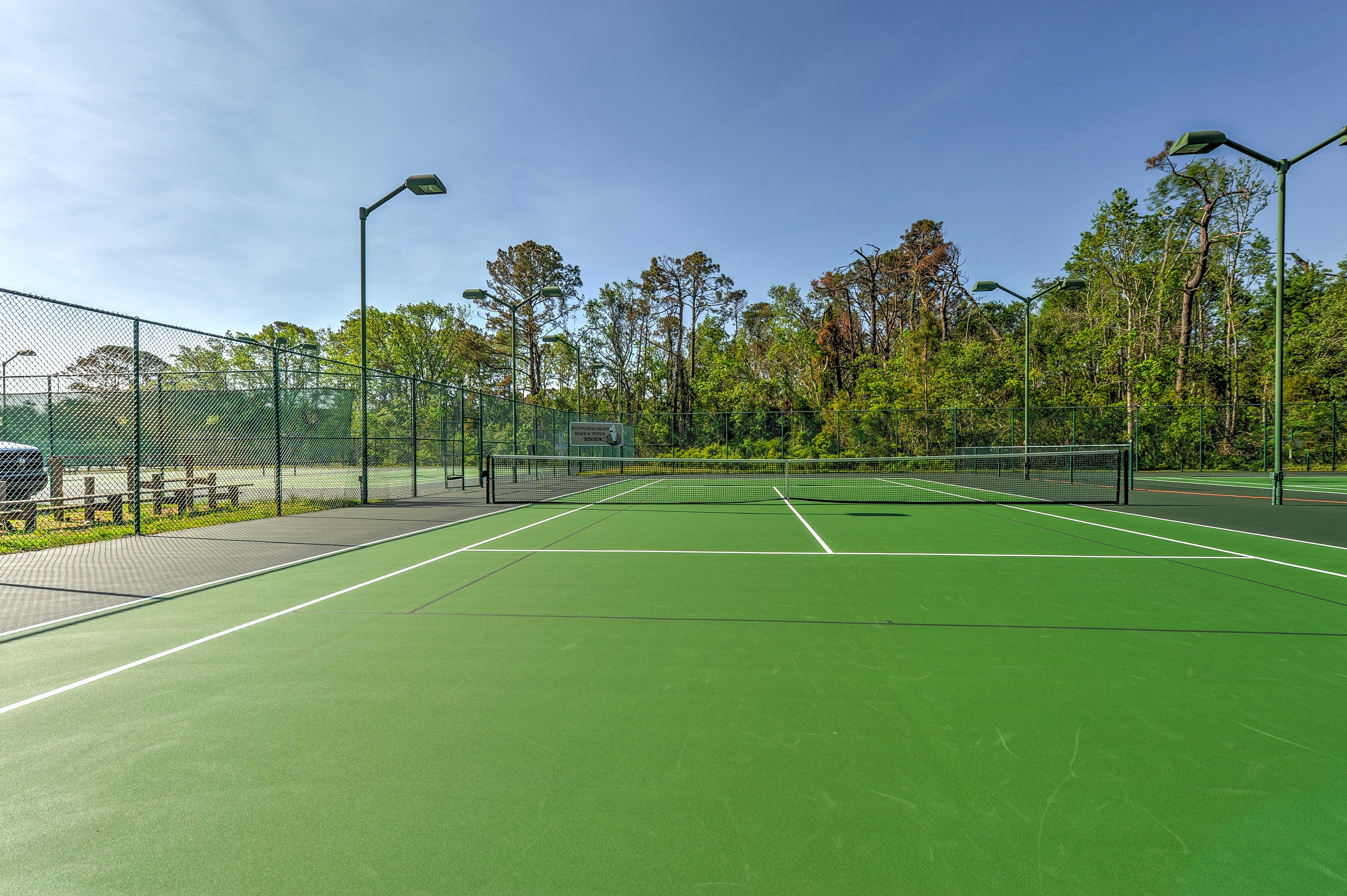Challenge your travel companions to a tennis match!