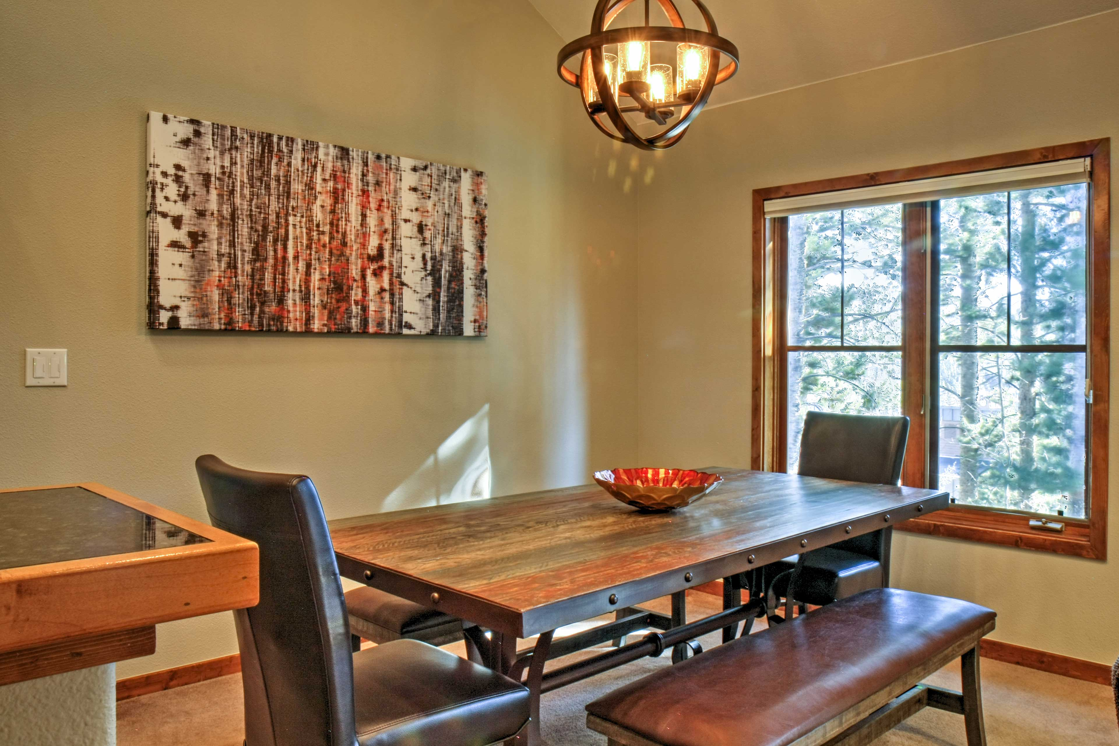 Share a meal at this rustic dining room table with seating for 8.