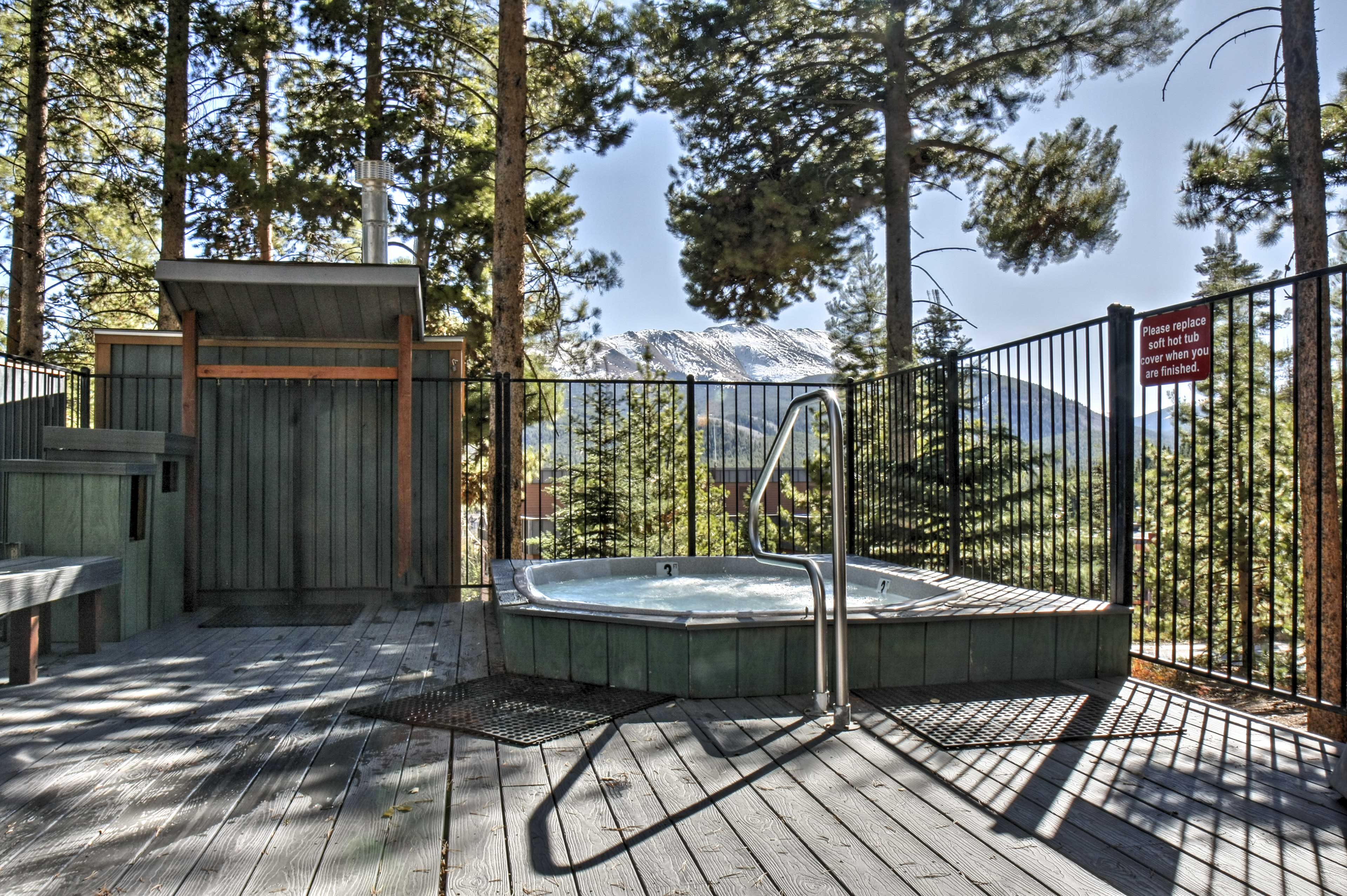 Take in the majestic mountain views from the soothing community Jacuzzi.