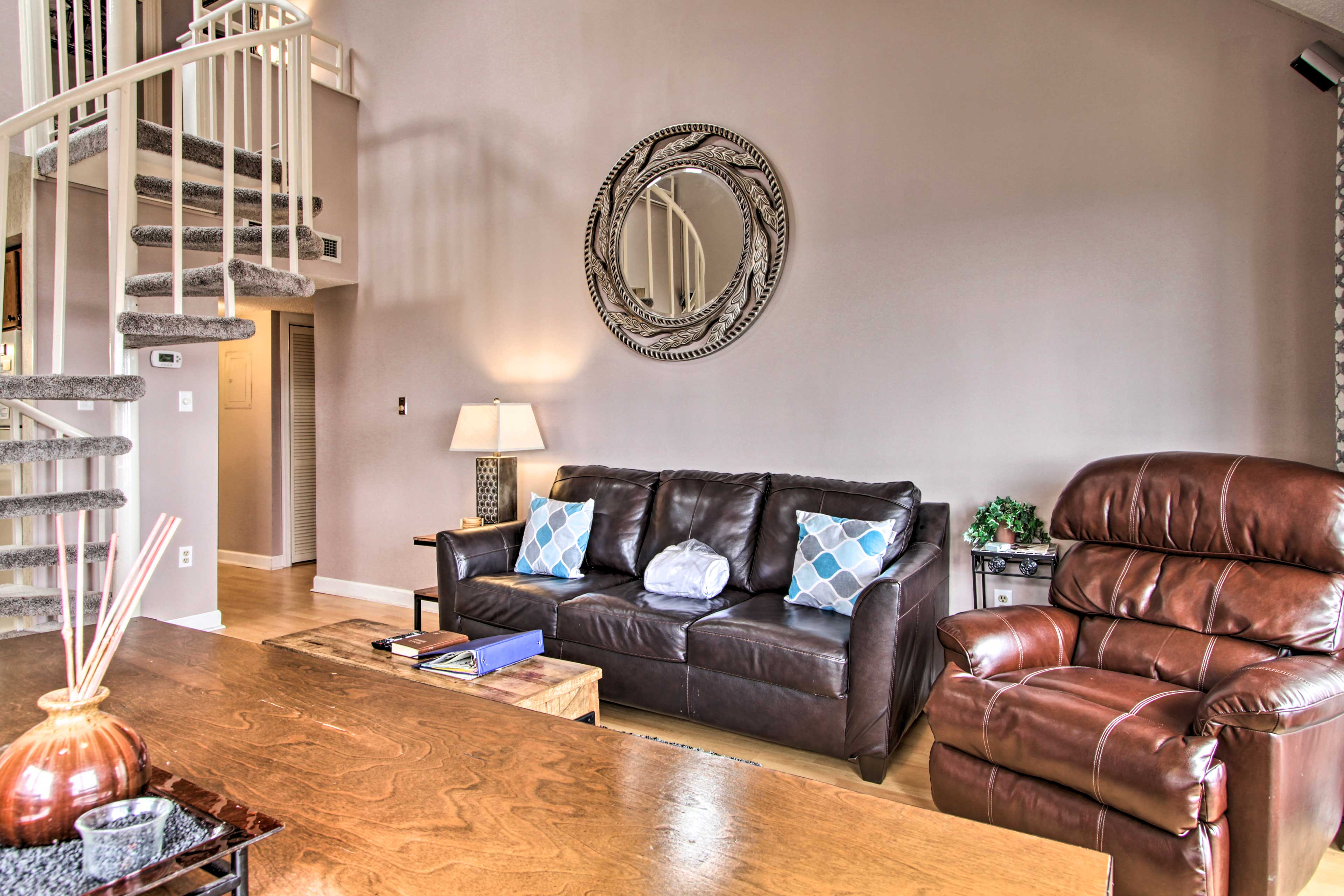 Relax on the brand new leather furnishings.
