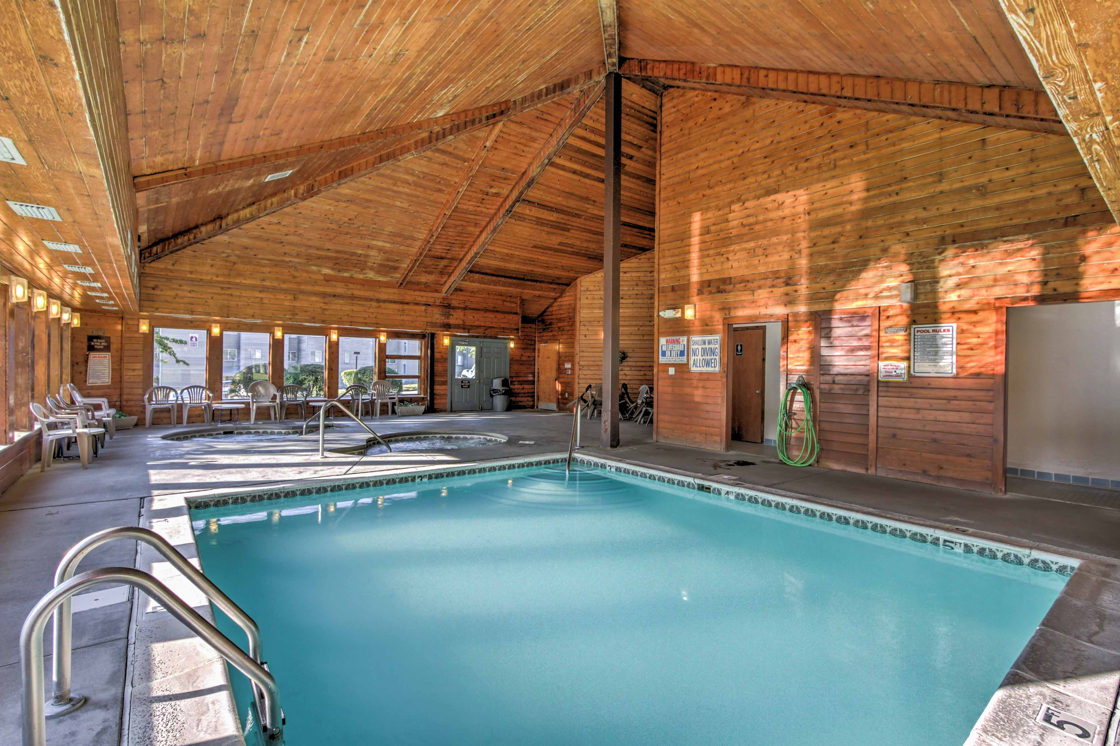 This condo grants you access to community pools and other amenities.