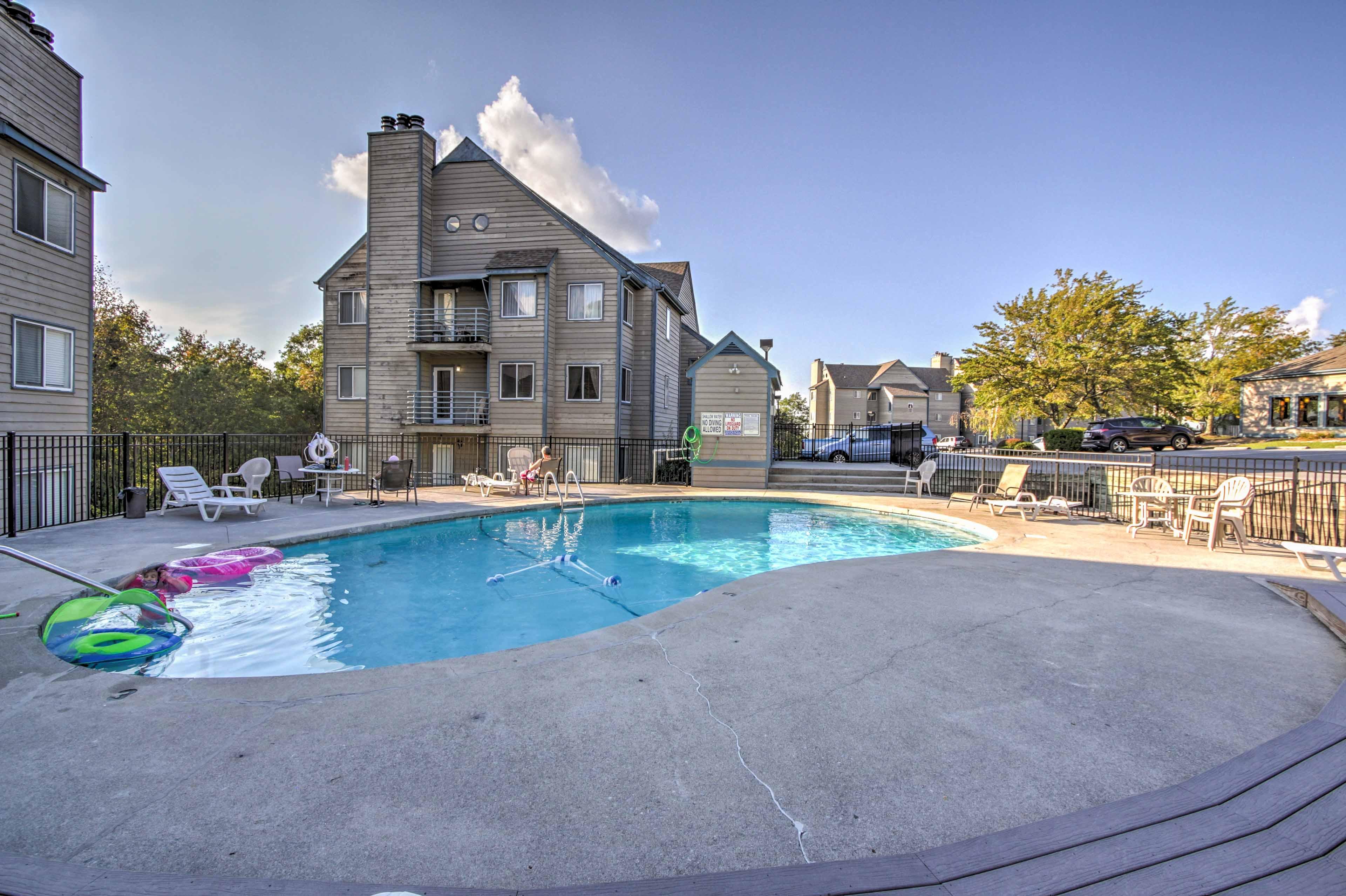Splash around in the seasonal outdoor pool.
