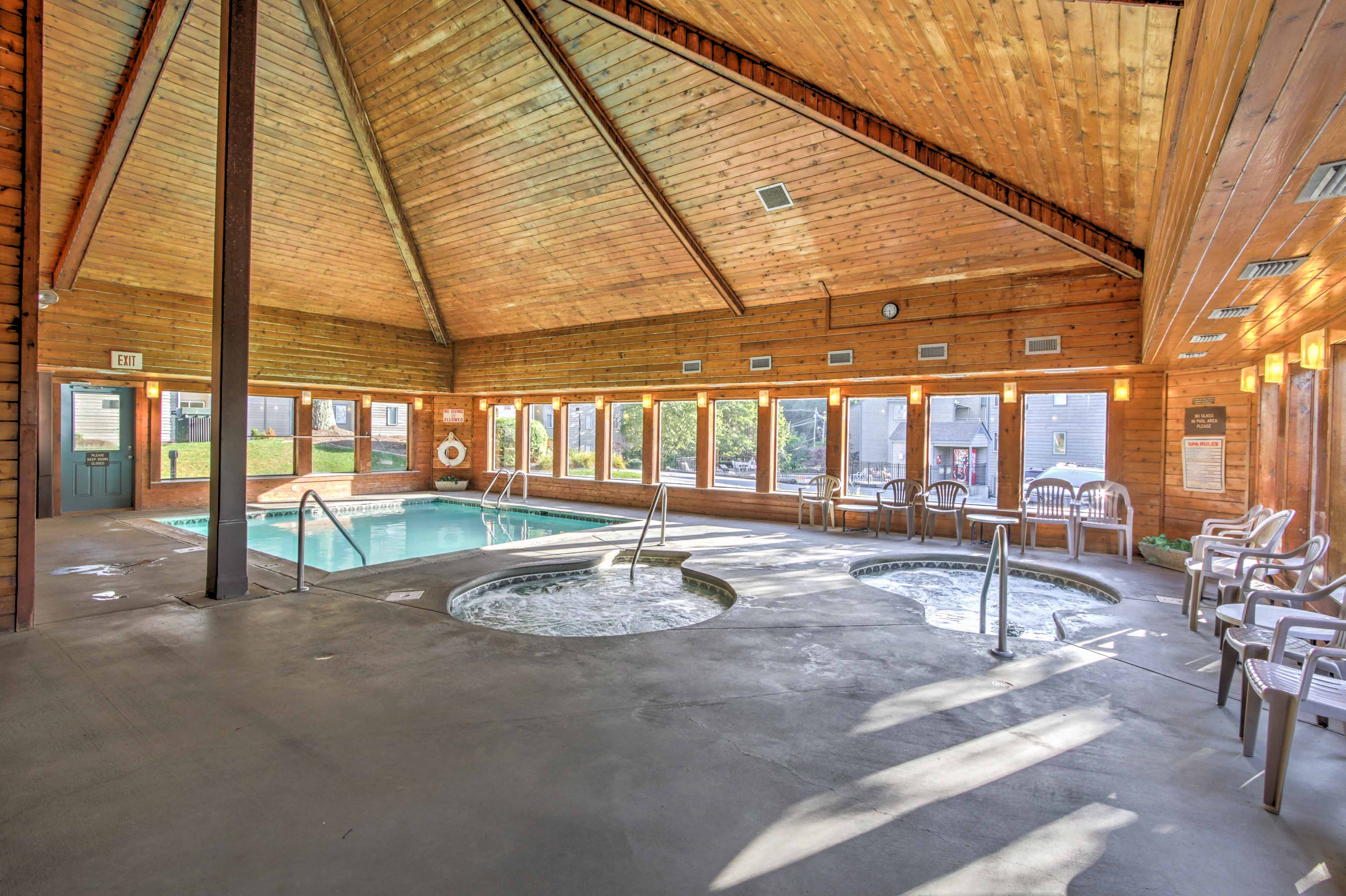 Dip into the hot tub or indoor pool.