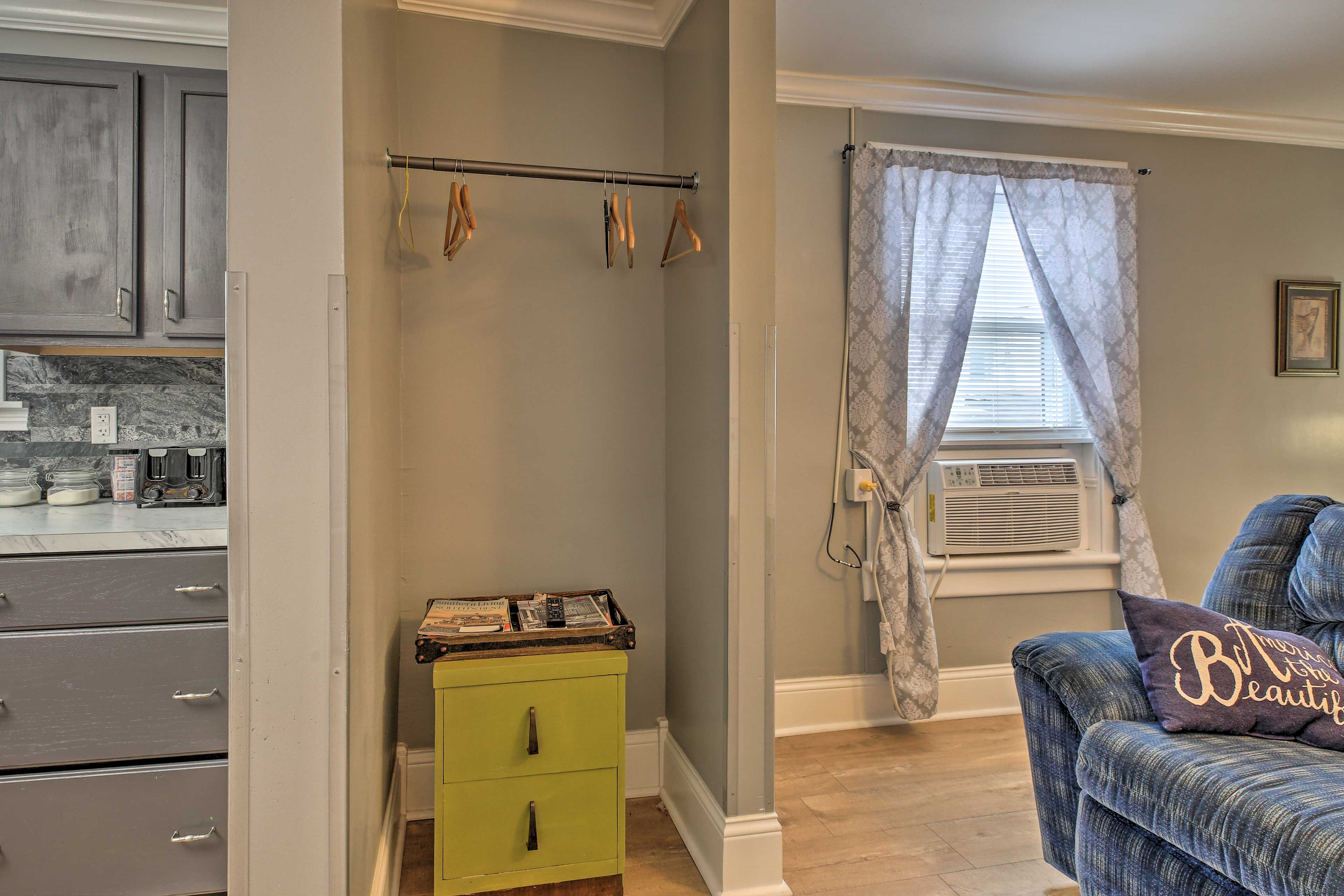 Store your belongings in the spacious closet during your visit.
