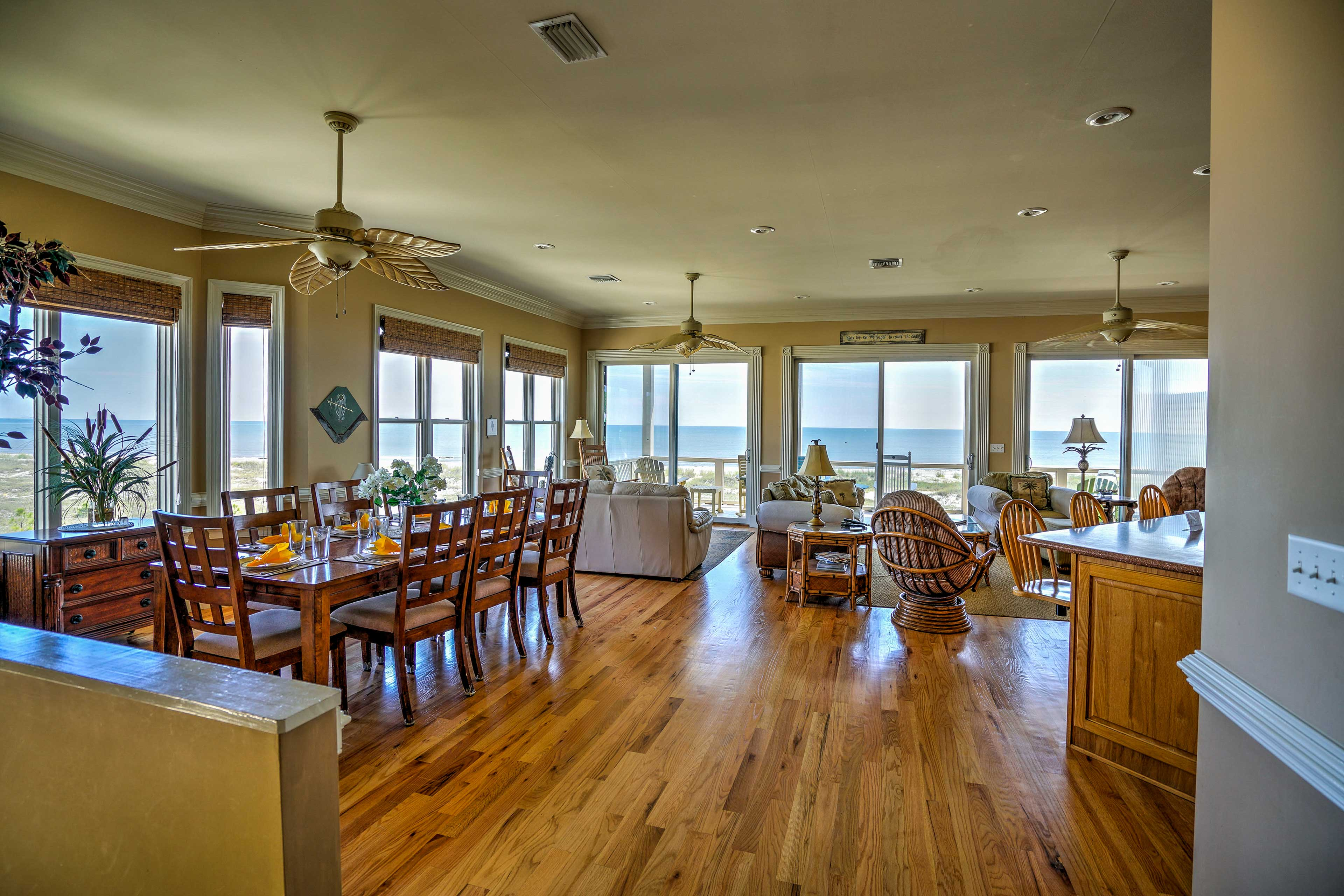 Step inside to be greeted by views of the Gulf displayed on the wall of windows.