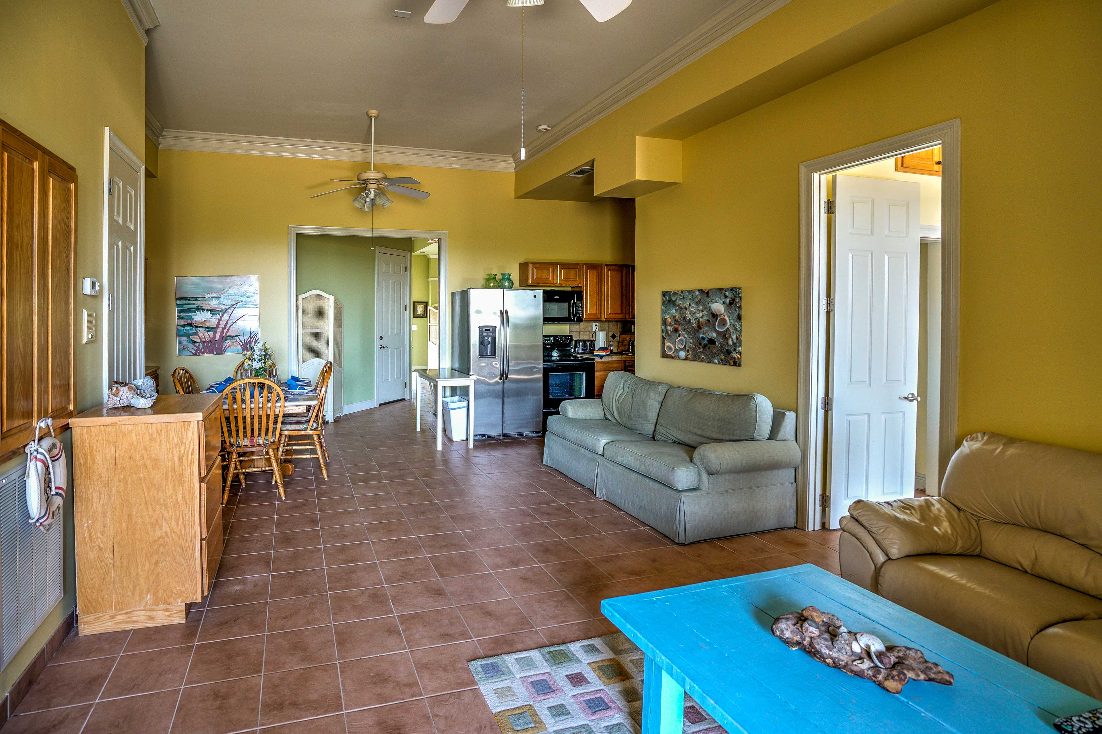 The second living space offers a living, dining area and fully equipped kitchen.