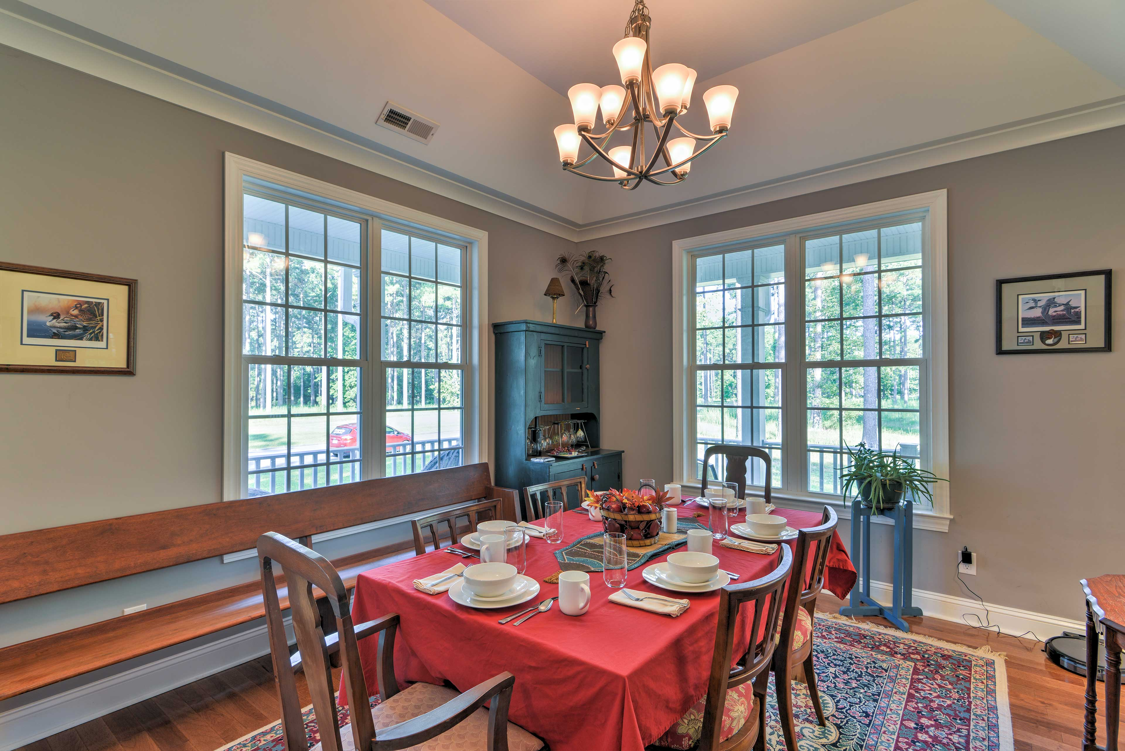 You'll find a more formal dining table down the hall, where you can enjoy a peaceful candlelight dinner.