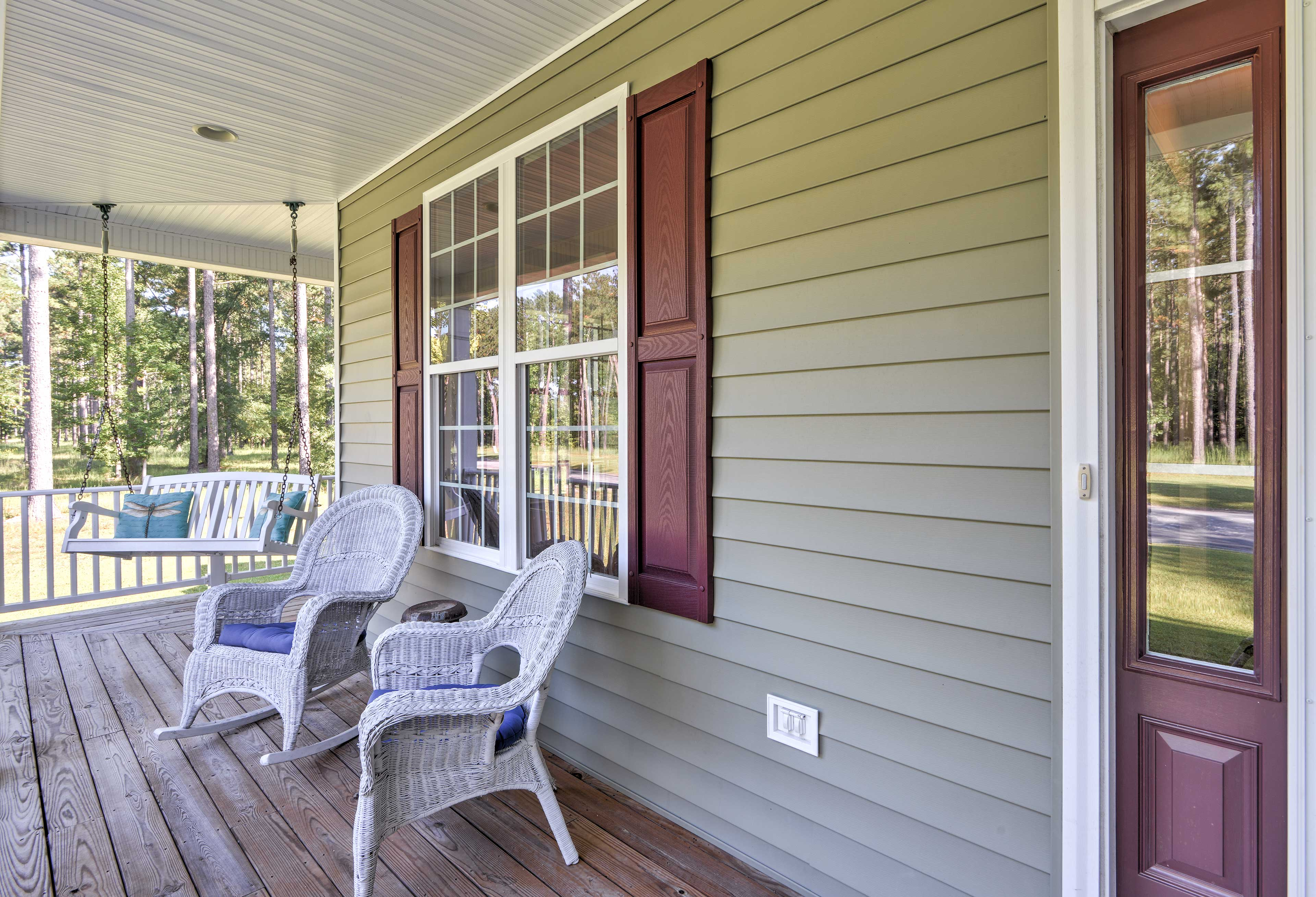 Walk outside in the morning to sip a warm cup of coffee on the porch swing.