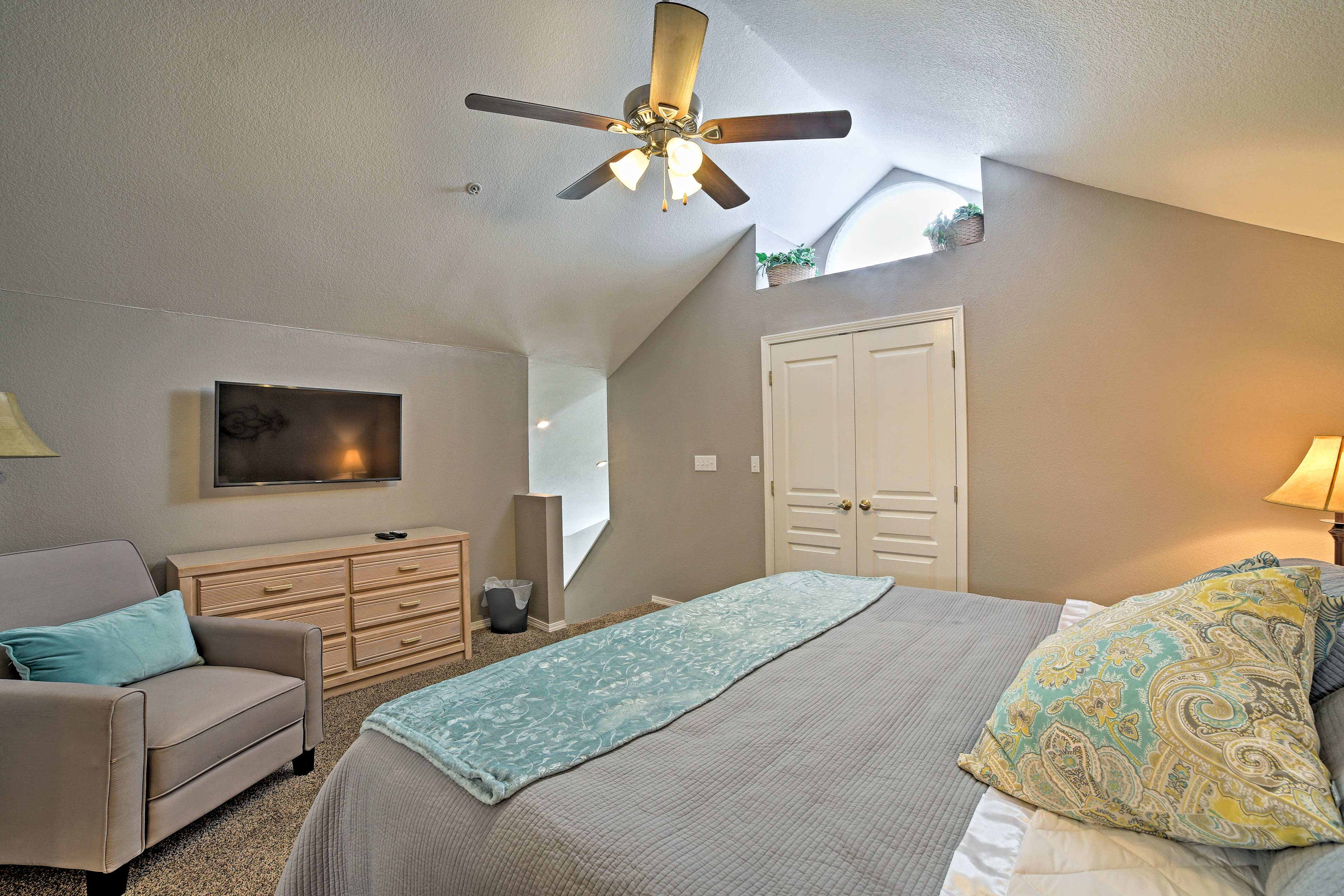The loft bedroom is both private and elegant.