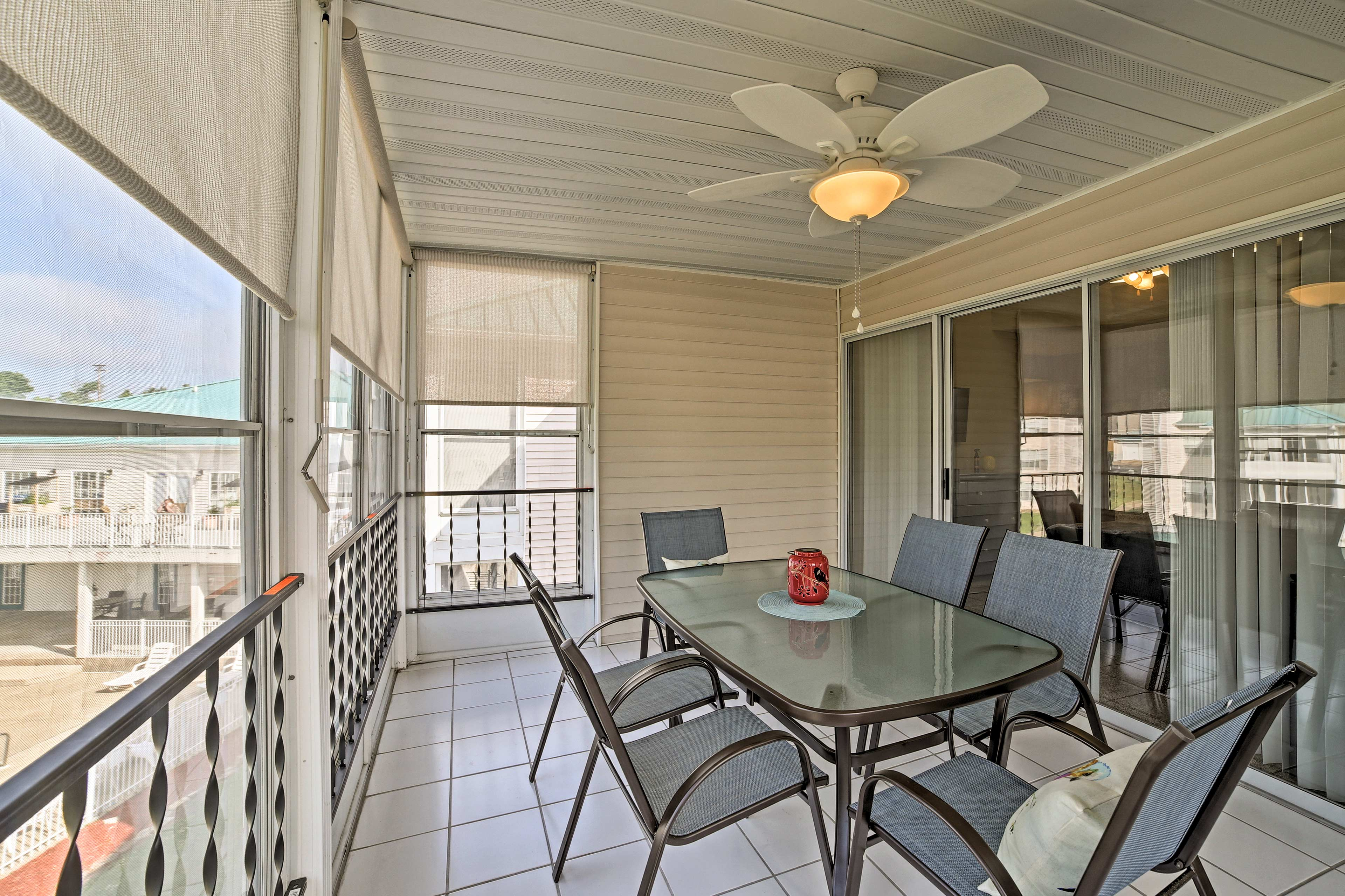 The sunroom is a great place to enjoy fresh air.