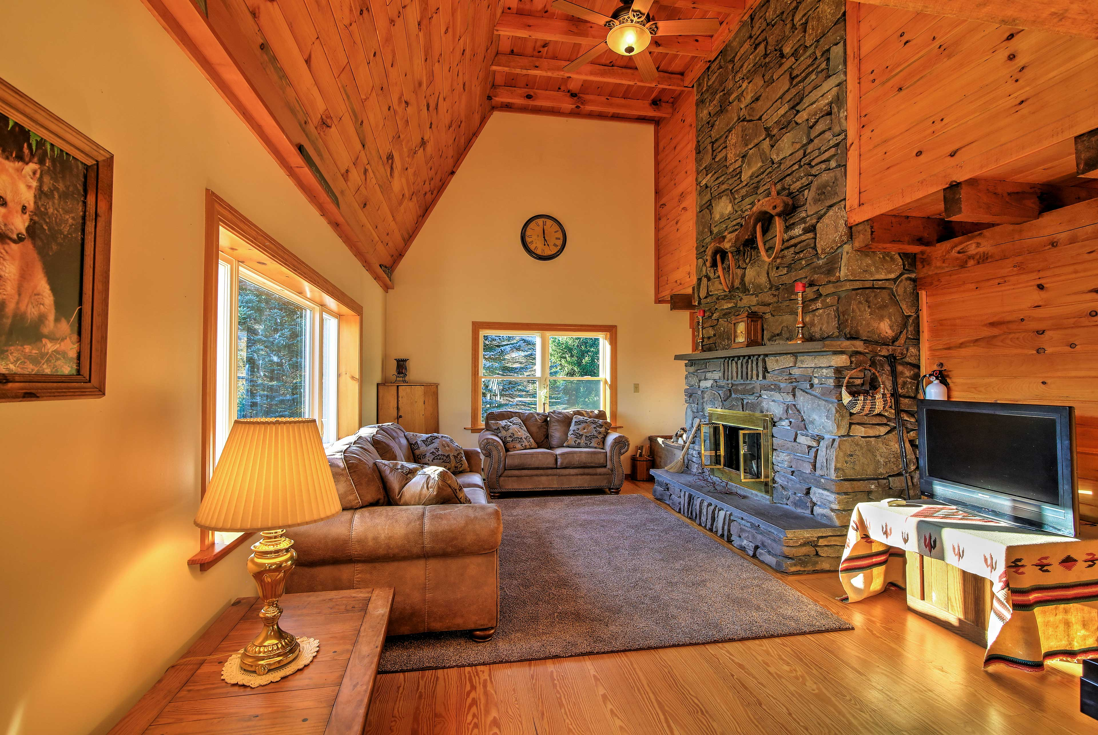 Relax in nearly 1,700 square feet of living space with wood-beamed ceilings.