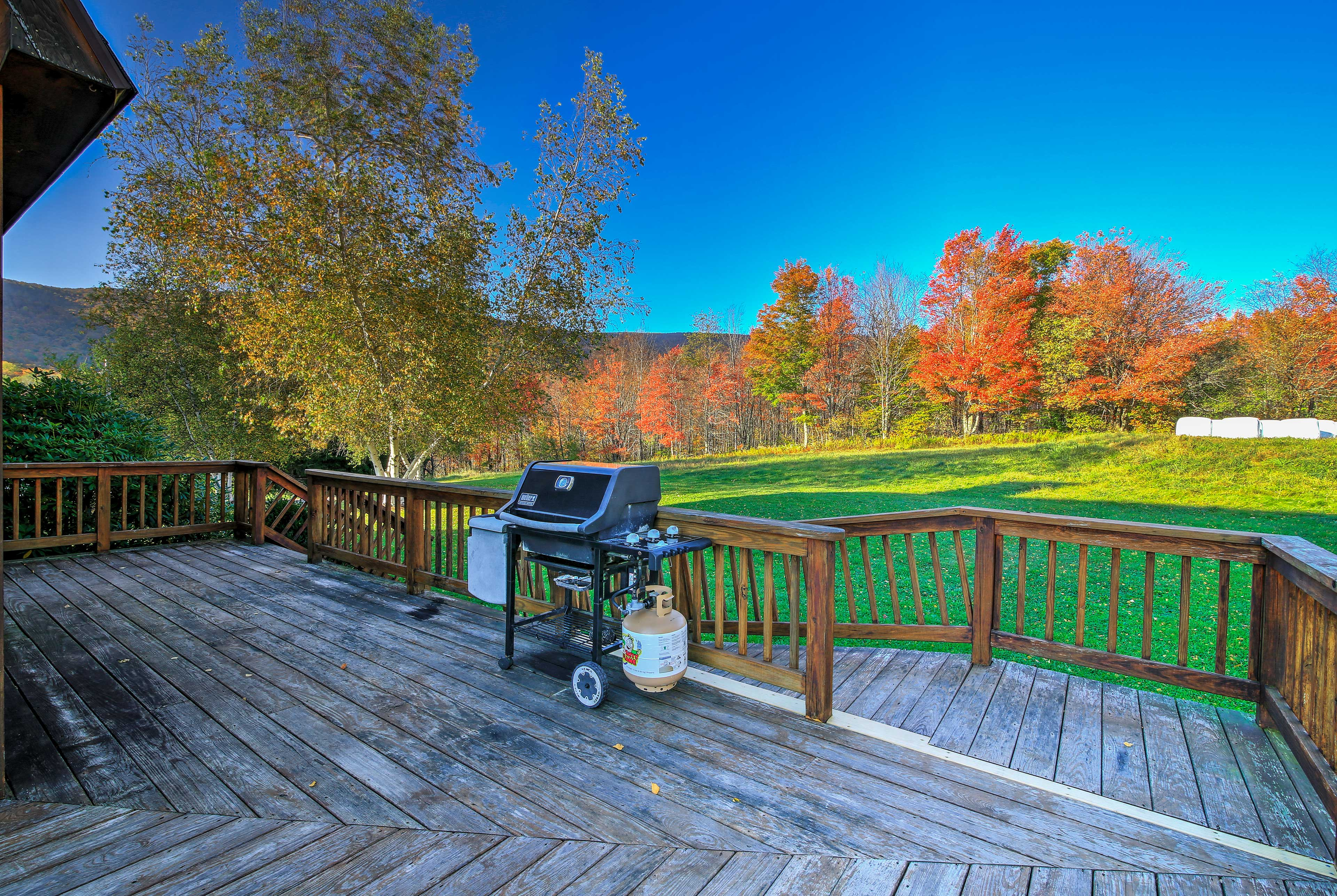 Grill-masters can utilize the gas grill on the back deck for BBQ dinners.