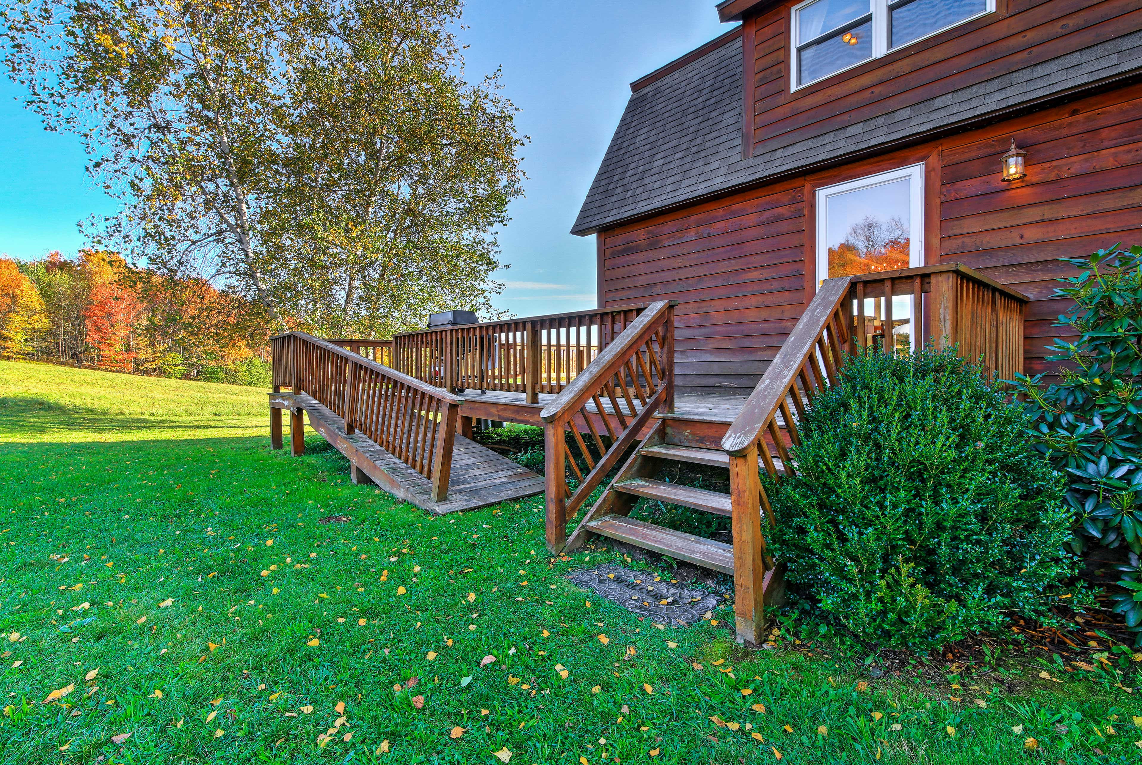 The cabin is easily accessible with a ramp onto the deck.