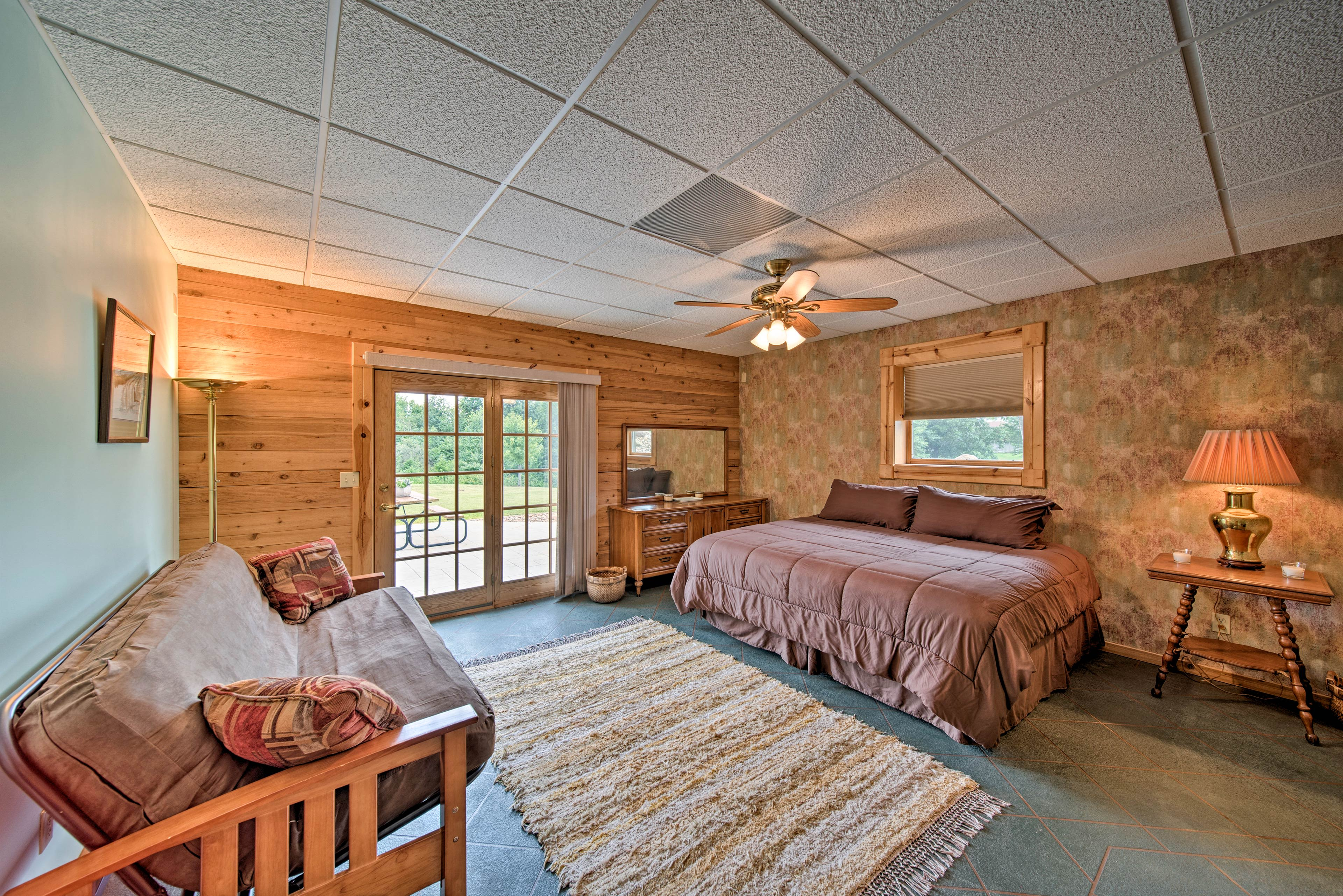 Open the private patio door to let fresh air flow into the master bedroom!