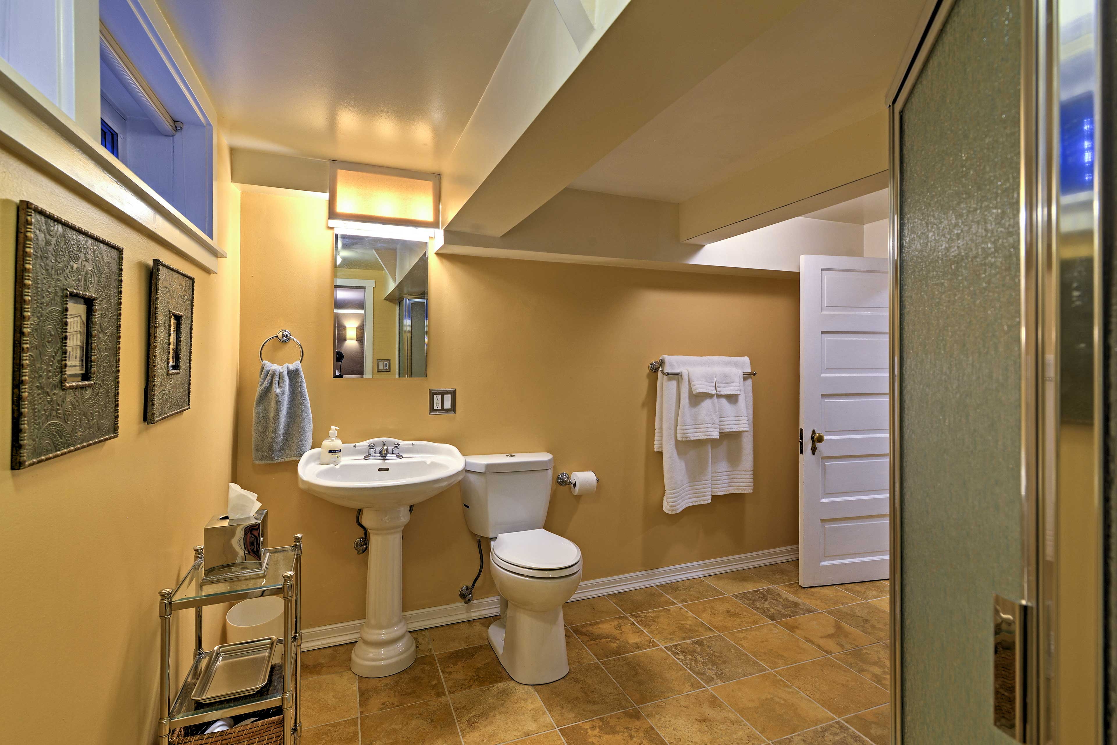 Rinse off in the bathroom with walk-in shower.