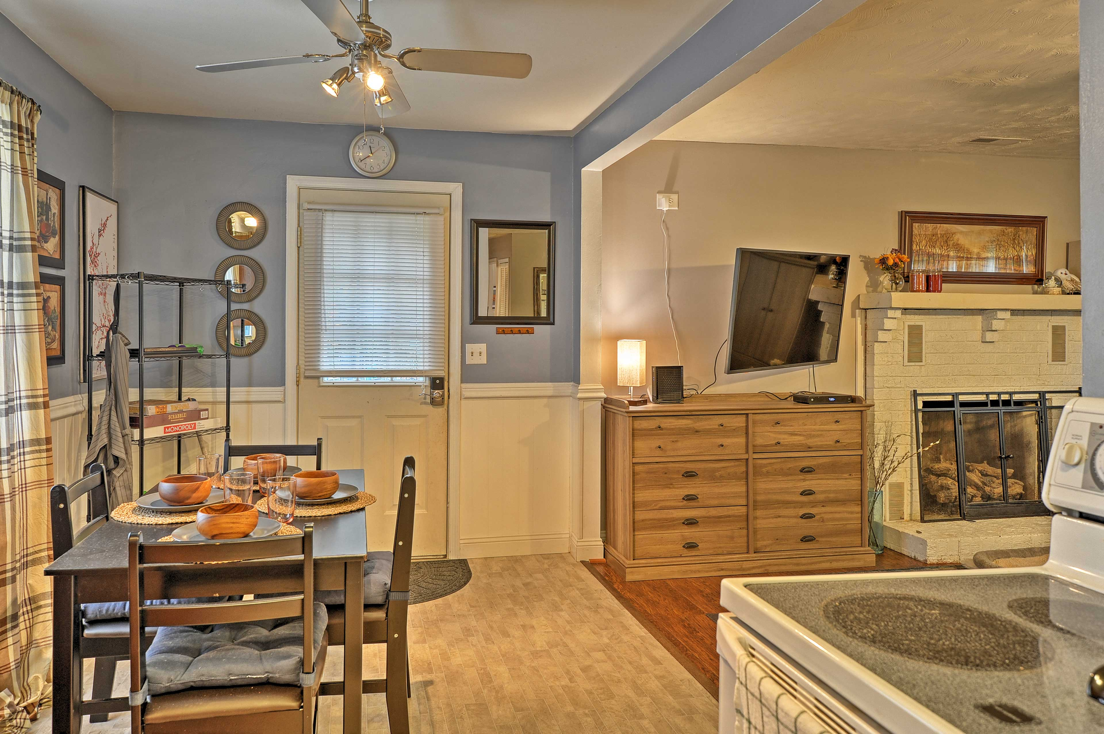 The living room flows effortlessly into the kitchen area.