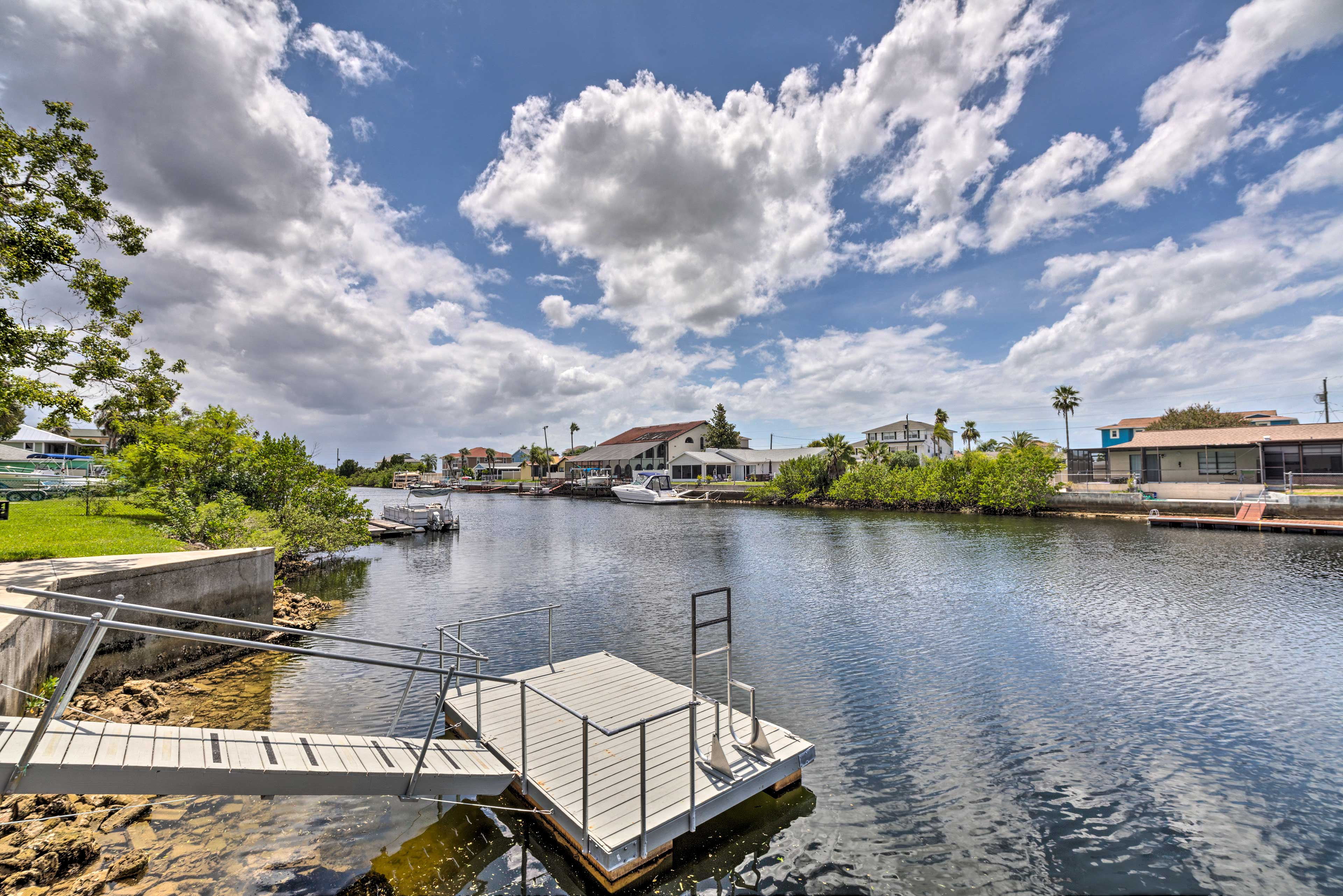 Tie your boat up to the floating dock or take off to the Gulf with ease.
