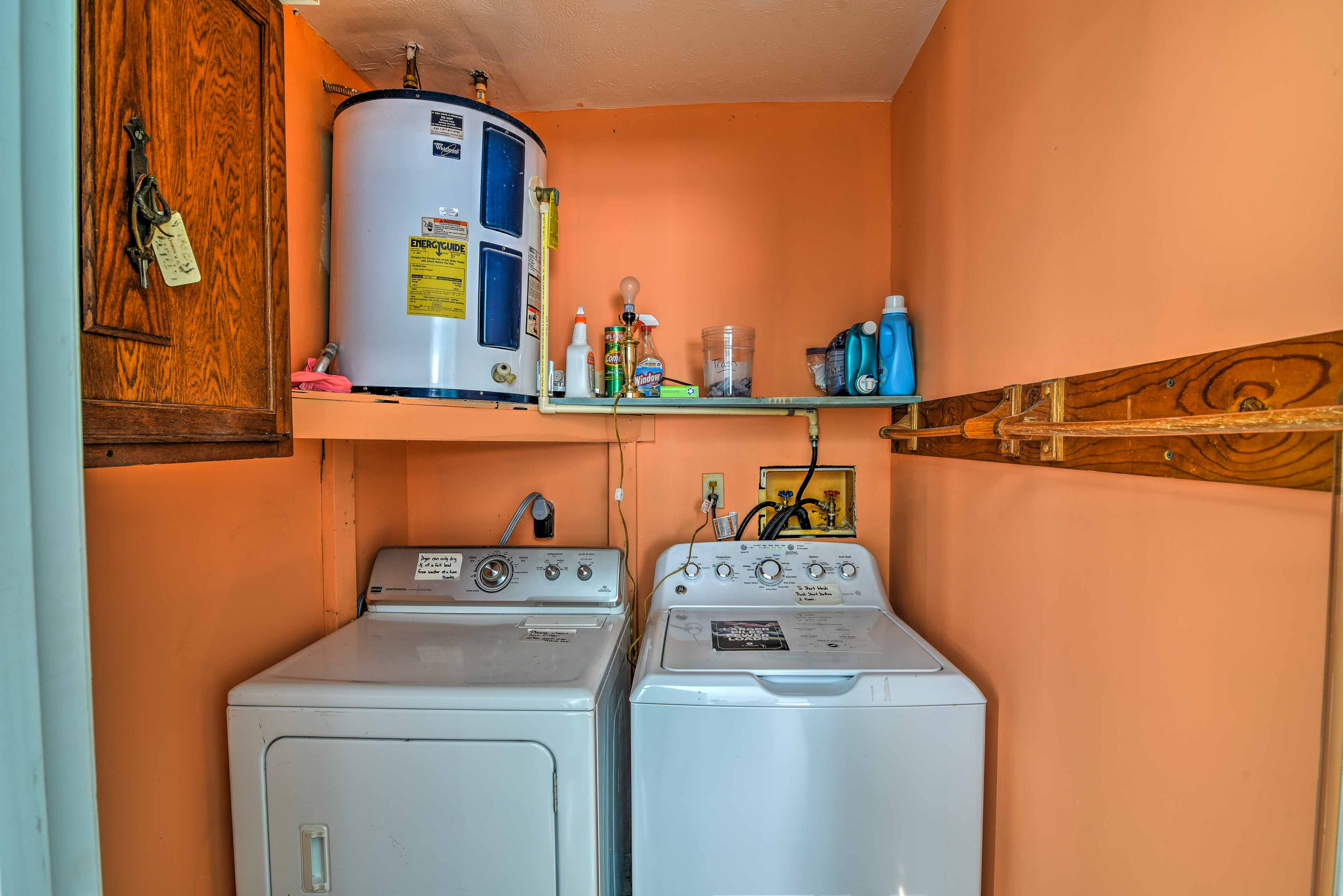 A washer and dryer are included for your added convenience.