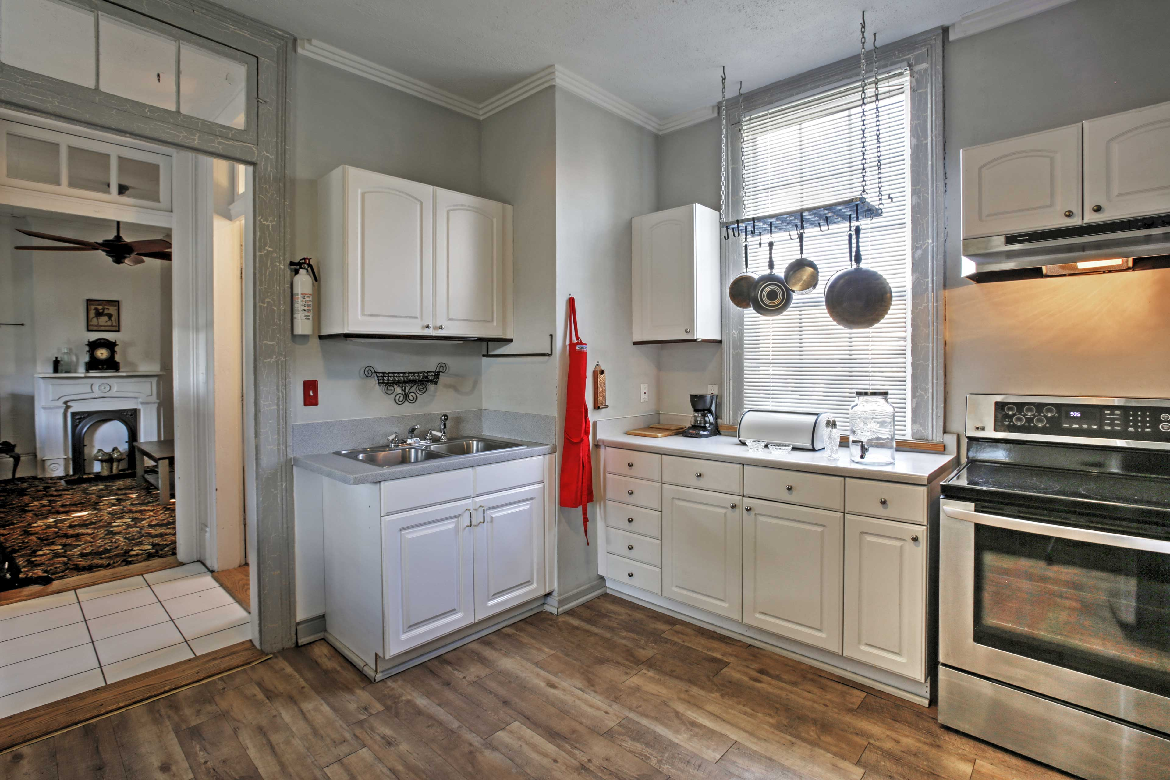 The cottage features appliances and ample counters so you can cook with ease.