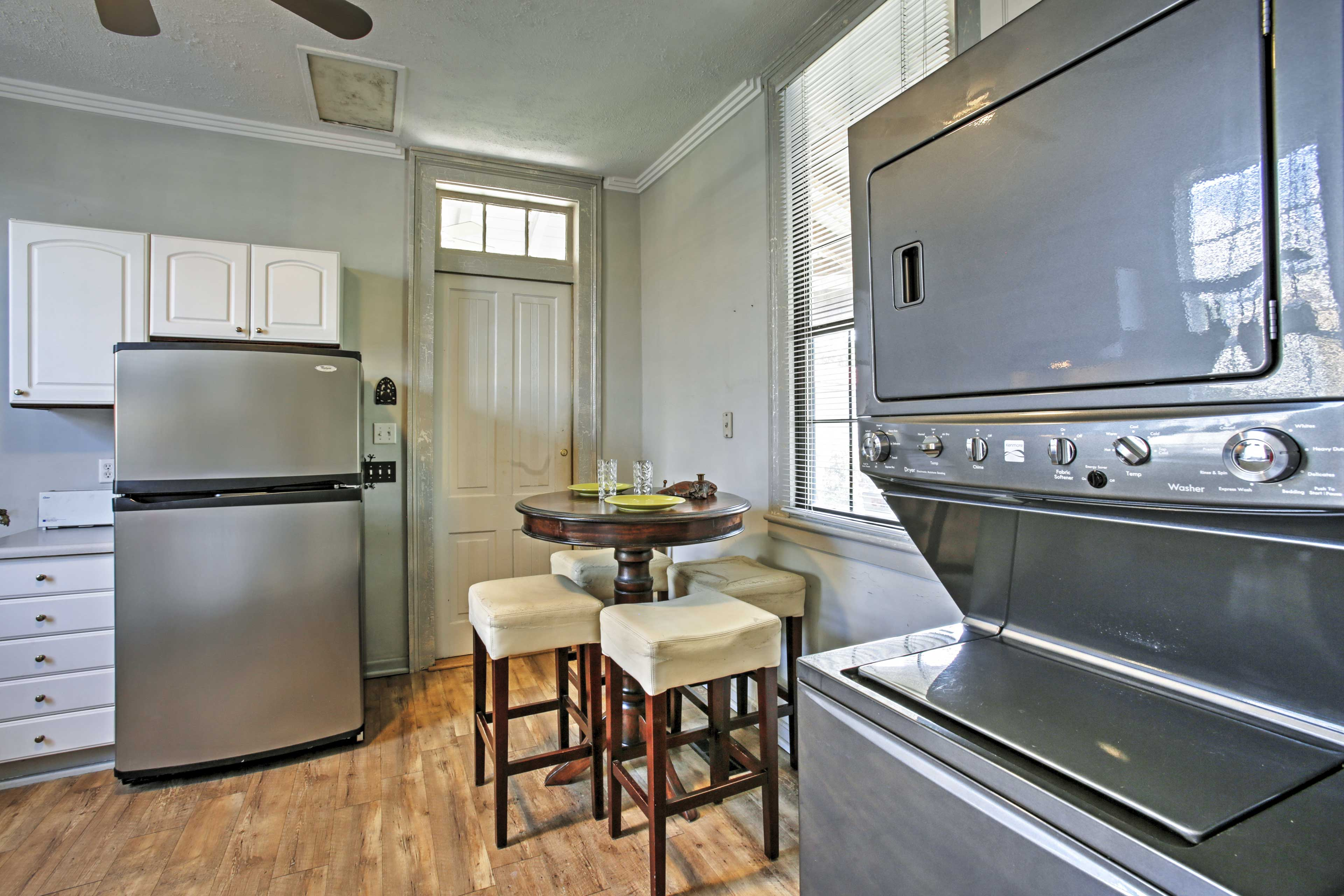 Enjoy a meal in the kitchen around the quaint 4-person dining table.