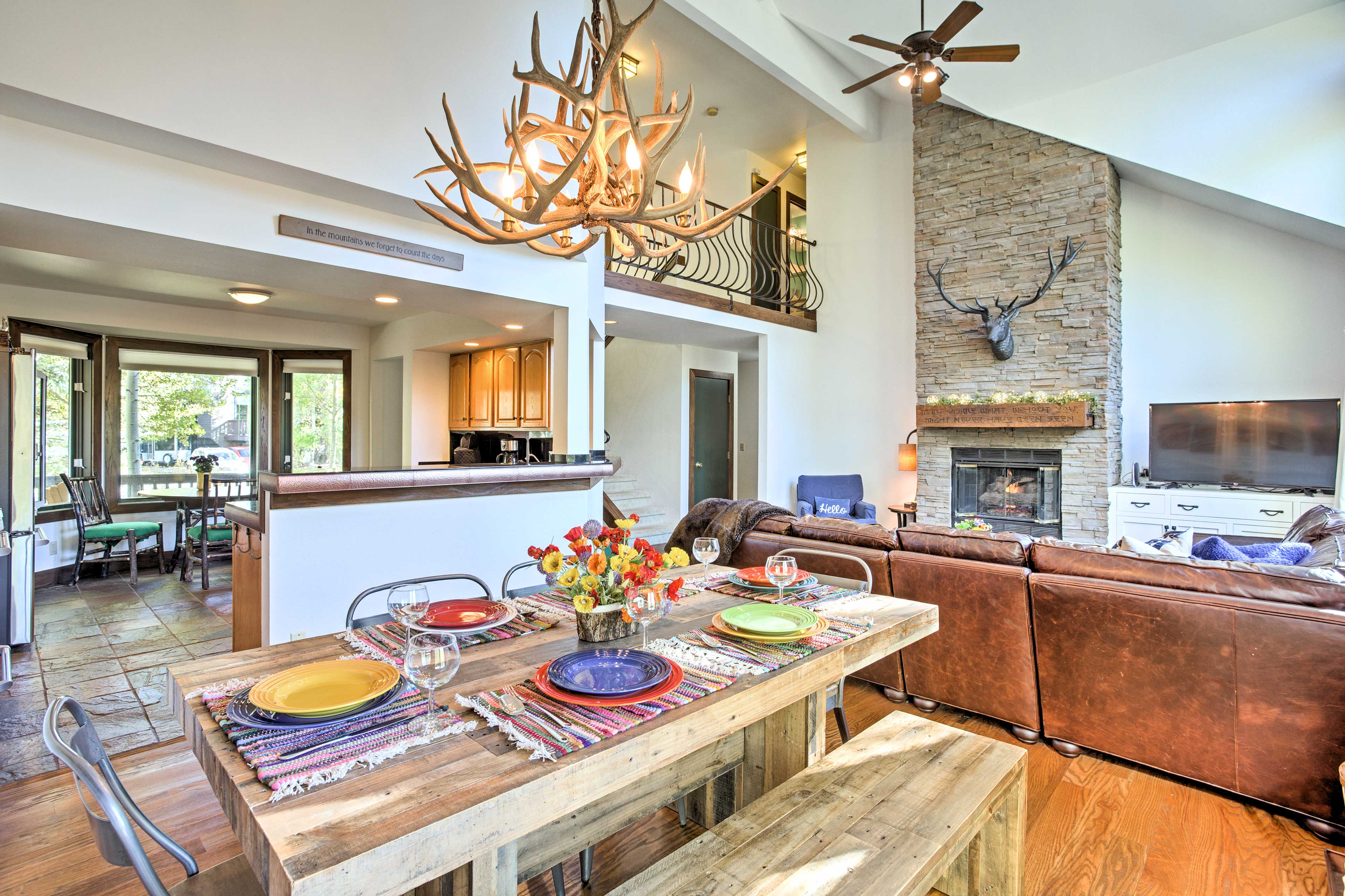 Inside, the beautiful home features vaulted ceilings and tasteful decor.