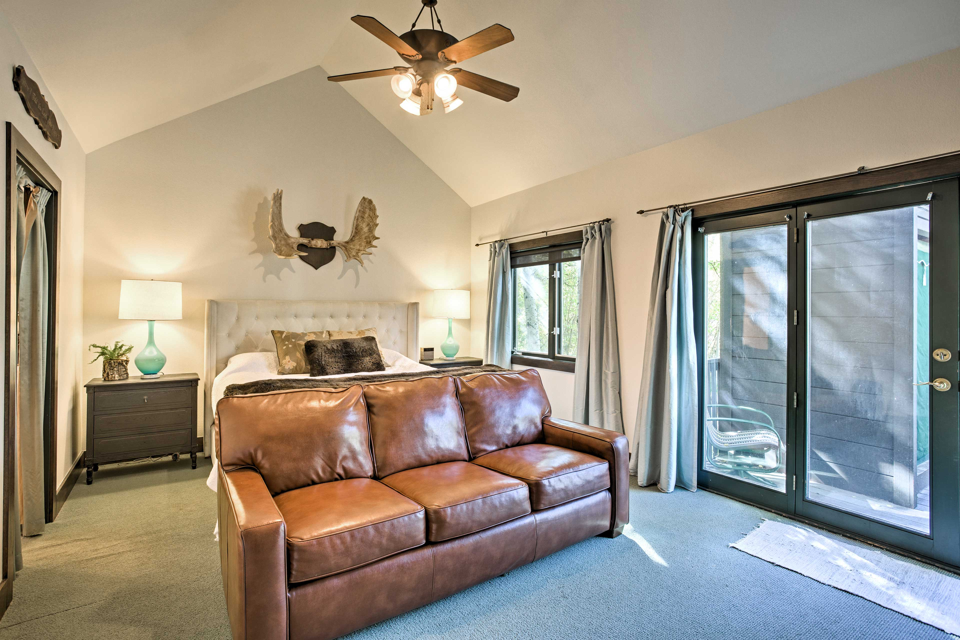 The master bedroom offers a comfy king bed and a pullout bed, along with a twin mattress in the closet.