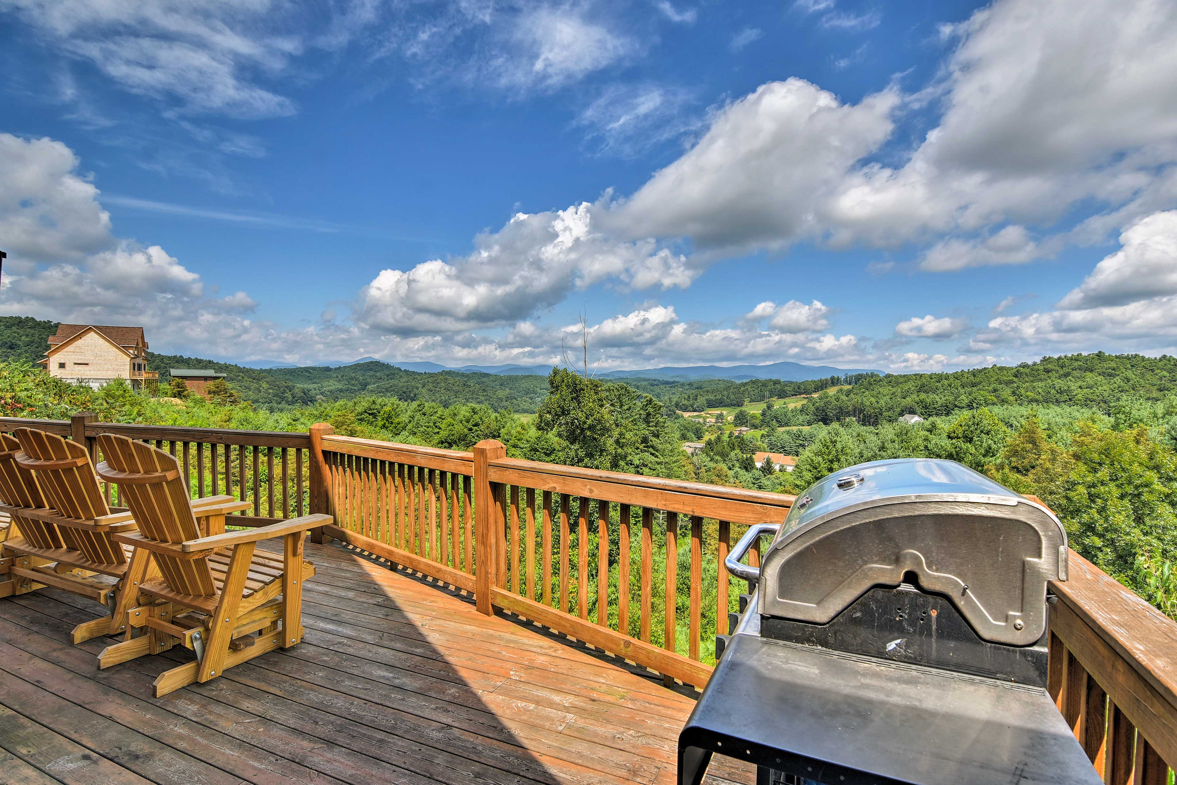 You'll have views of the Blue Ridge Mountains from the wraparound deck.