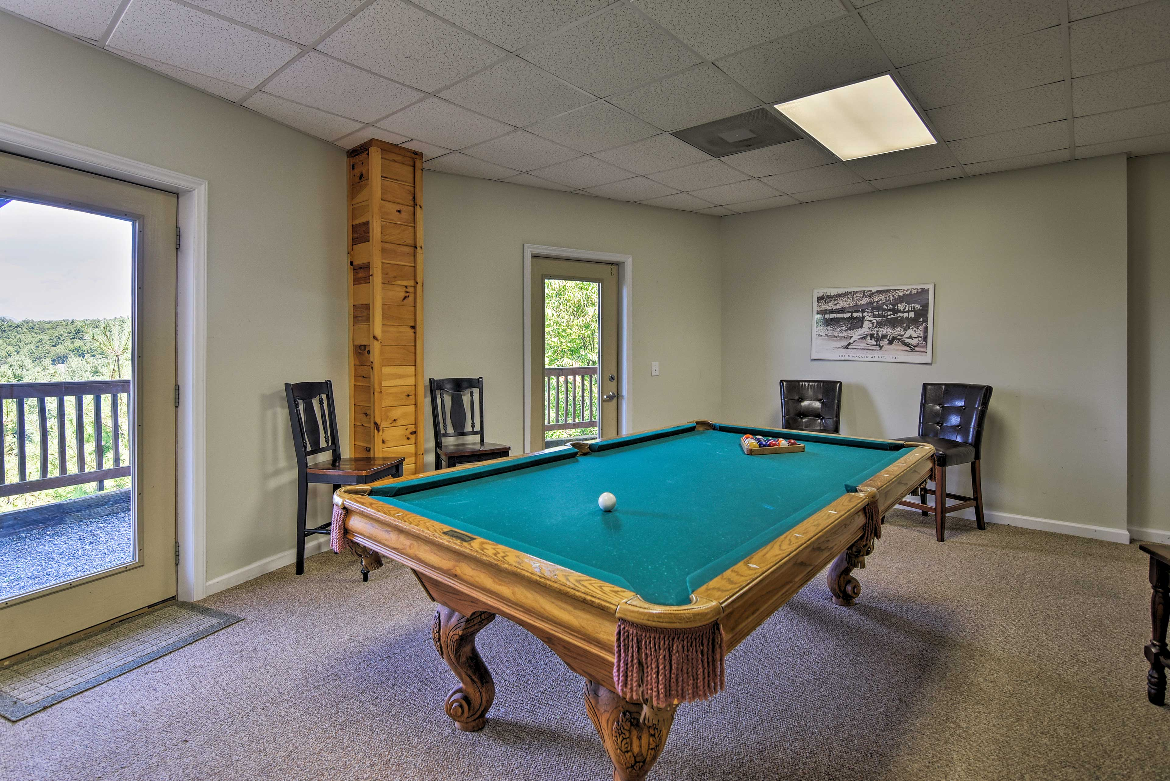 Shoot some pool while looking out at the picturesque views.