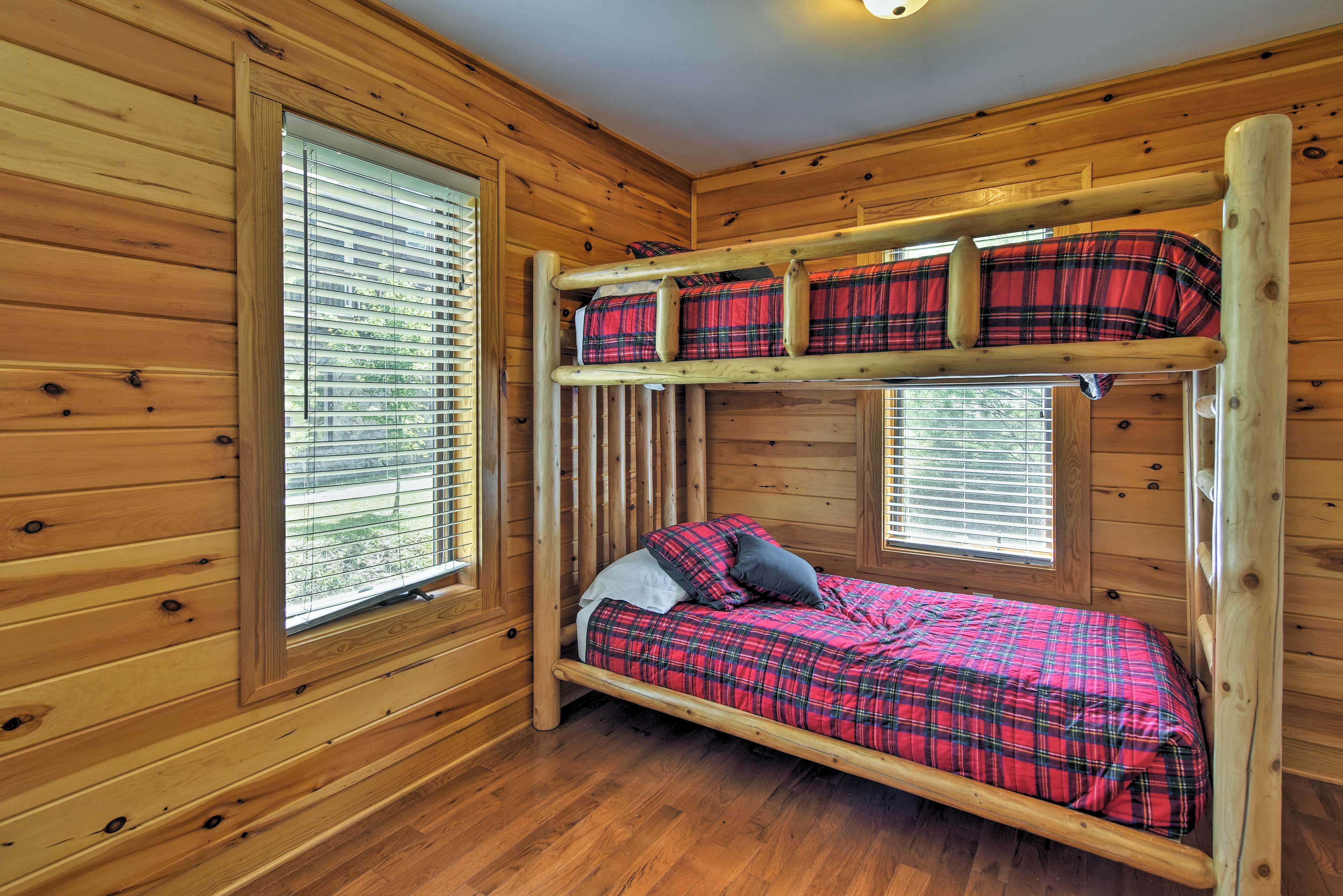 This room boasts a twin-over-twin bunk bed.