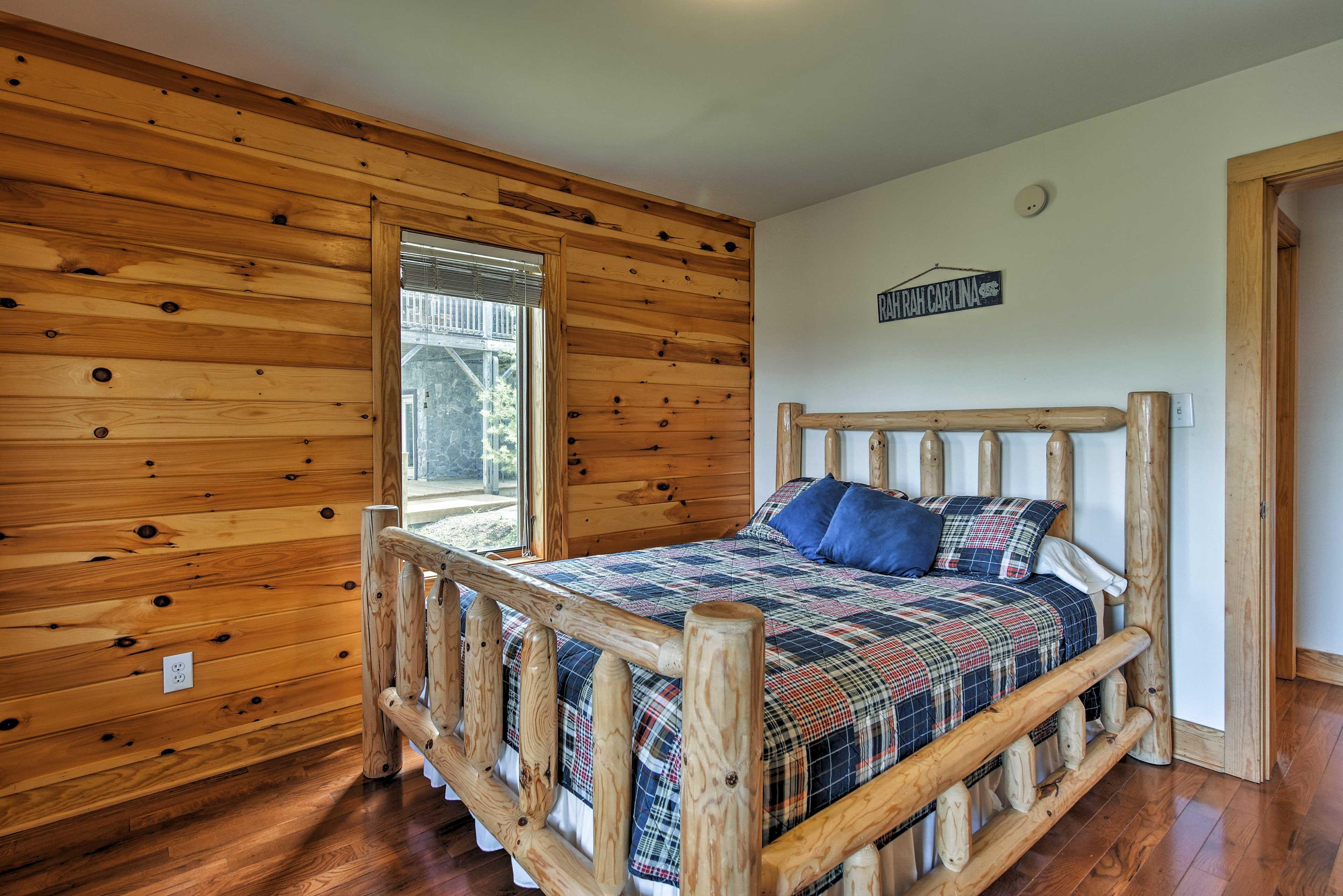 Enjoy peaceful slumbers in this queen bed.